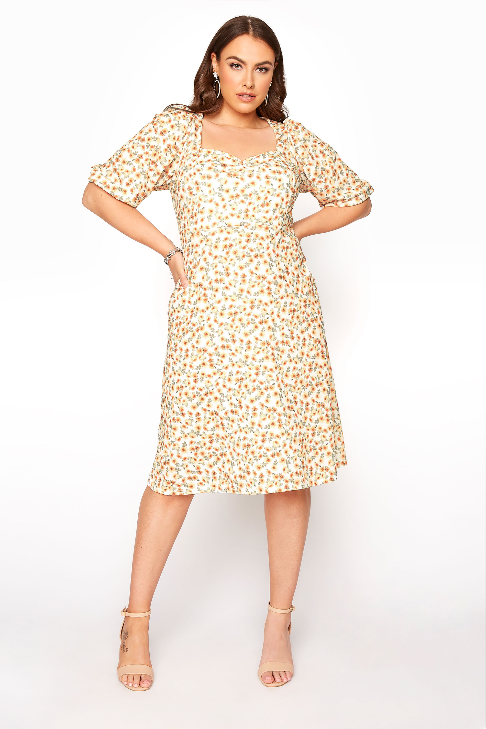 Yellow Ditsy Floral Puff Sleeve Dress_A.jpg