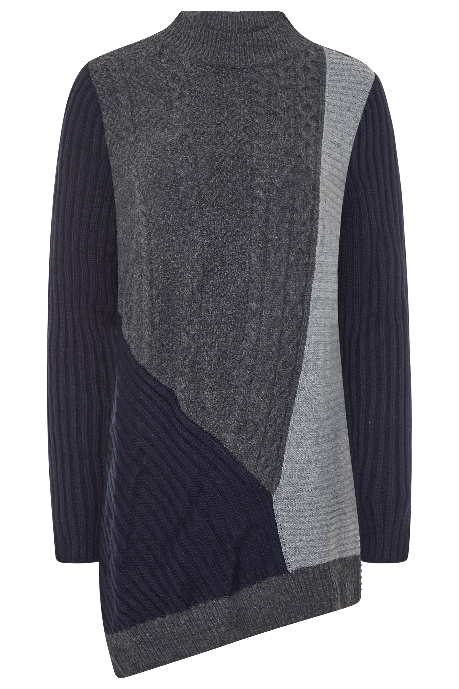 CURATD. x LTS Grey Colour Block Knitted Tunic