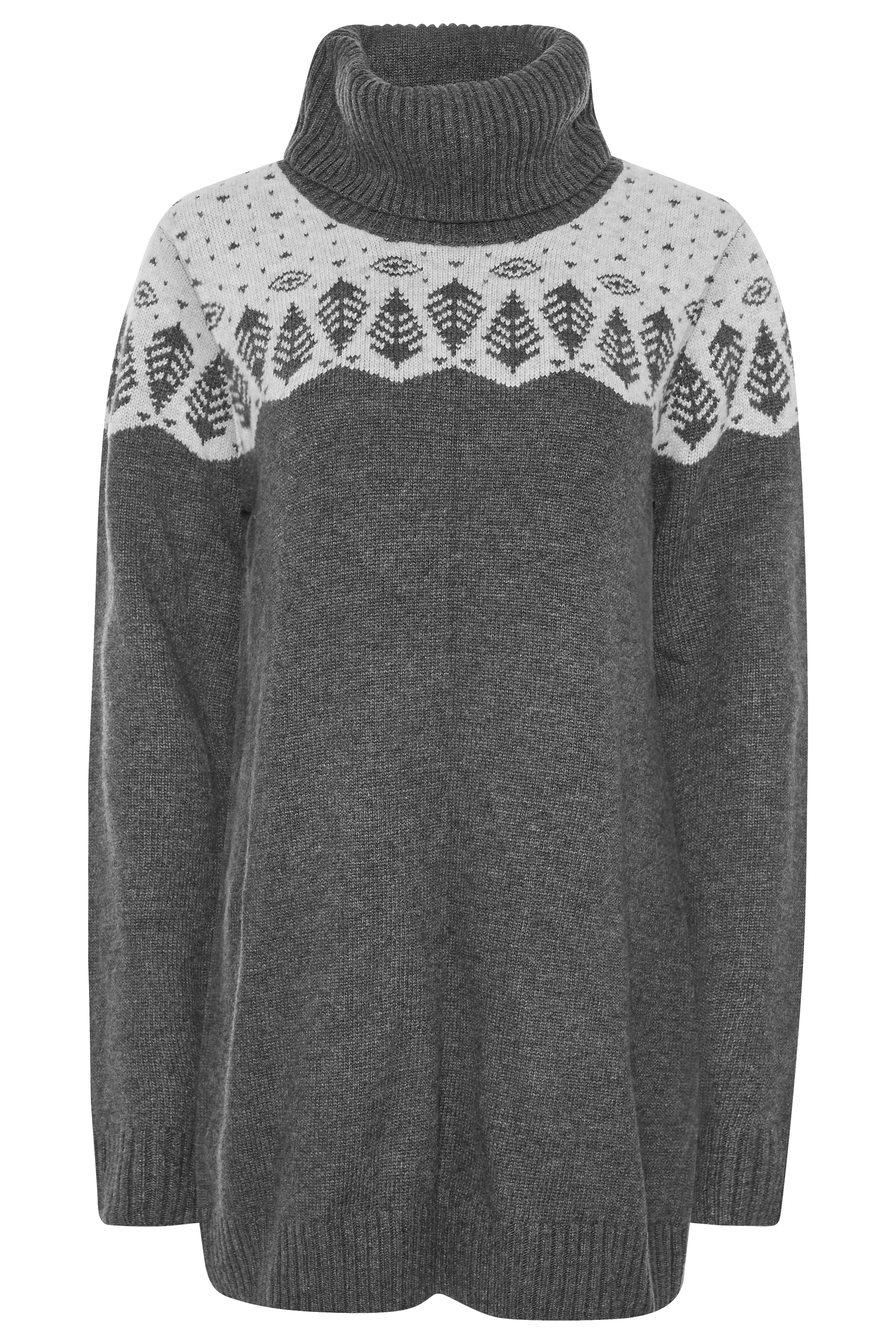 Grey Button Back Fairisle Sweater