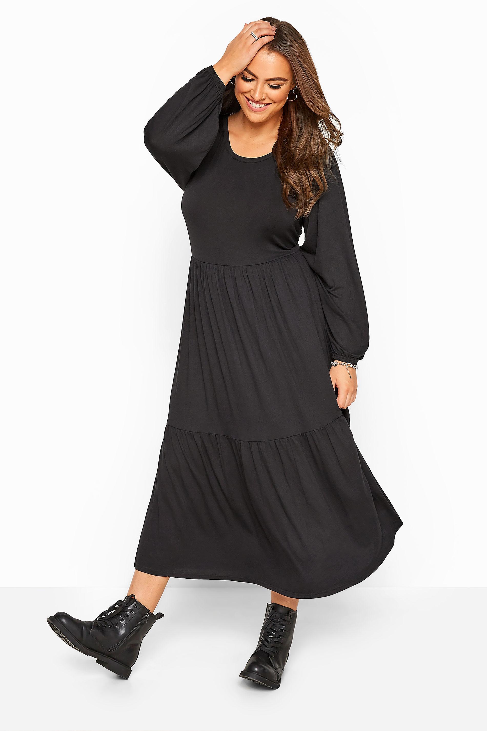 Black Balloon Sleeve Tiered Midaxi Dress