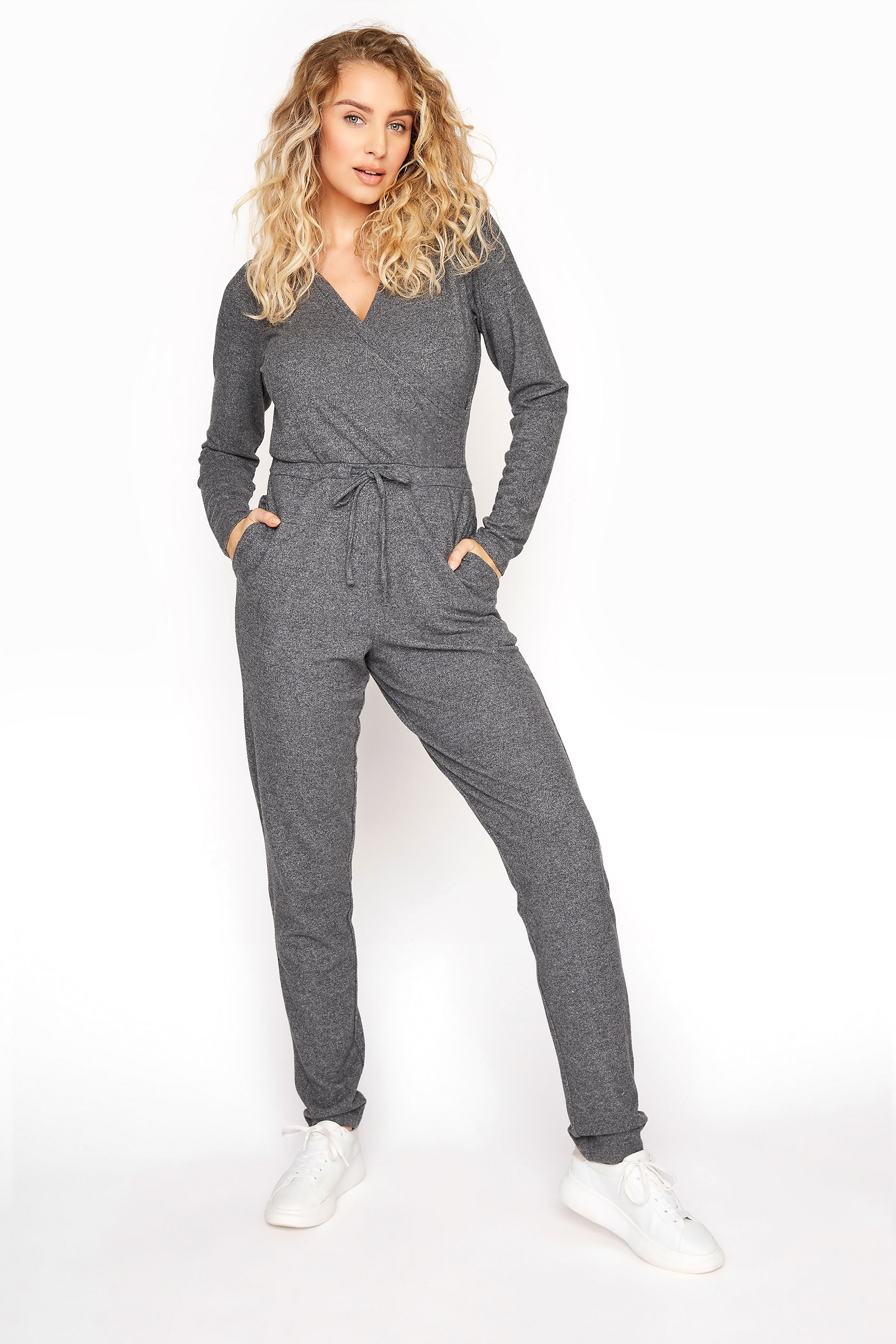 Grey Soft Wrap Jumpsuit
