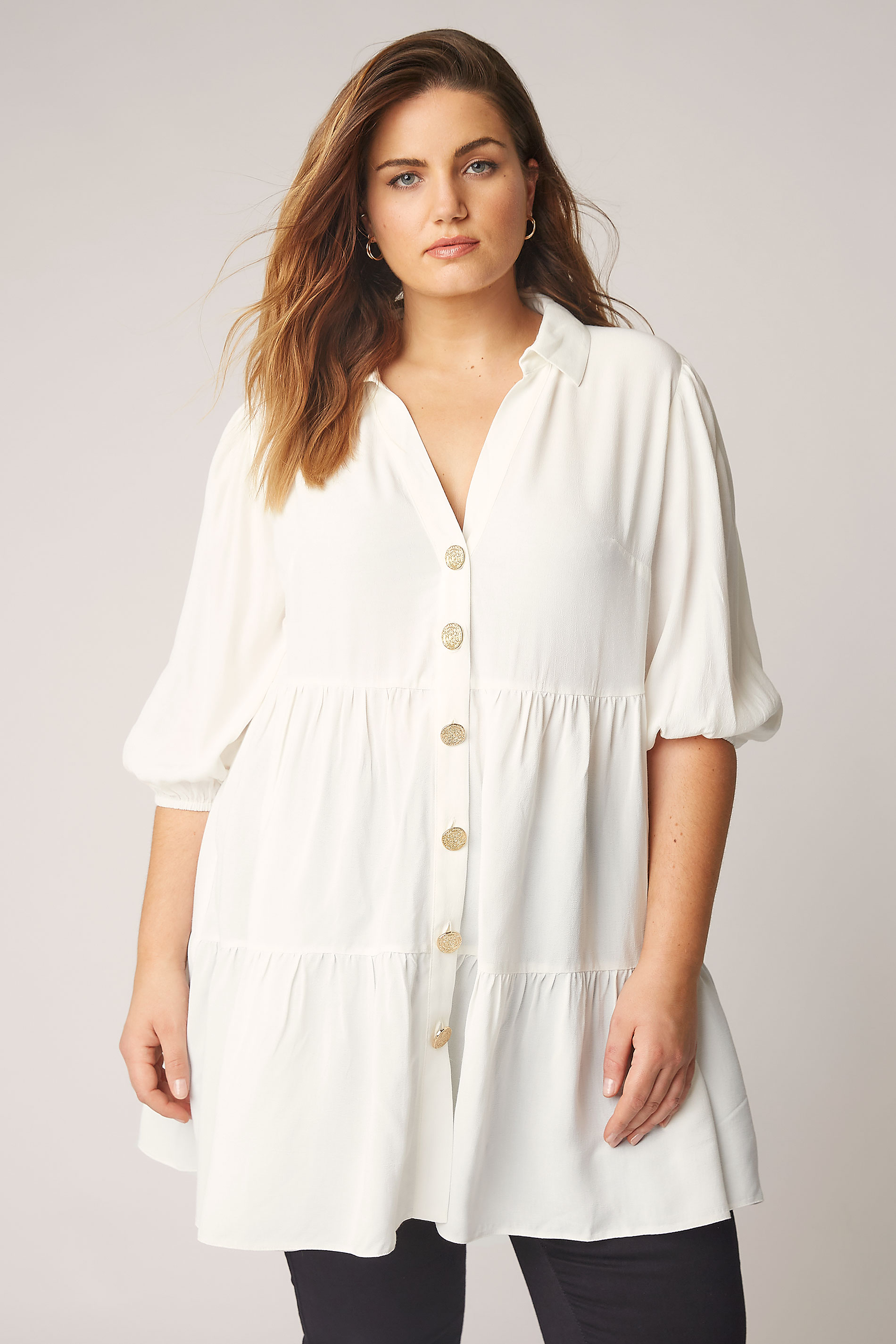 THE LIMITED EDIT White Tiered Smock Tunic Top_A.jpg