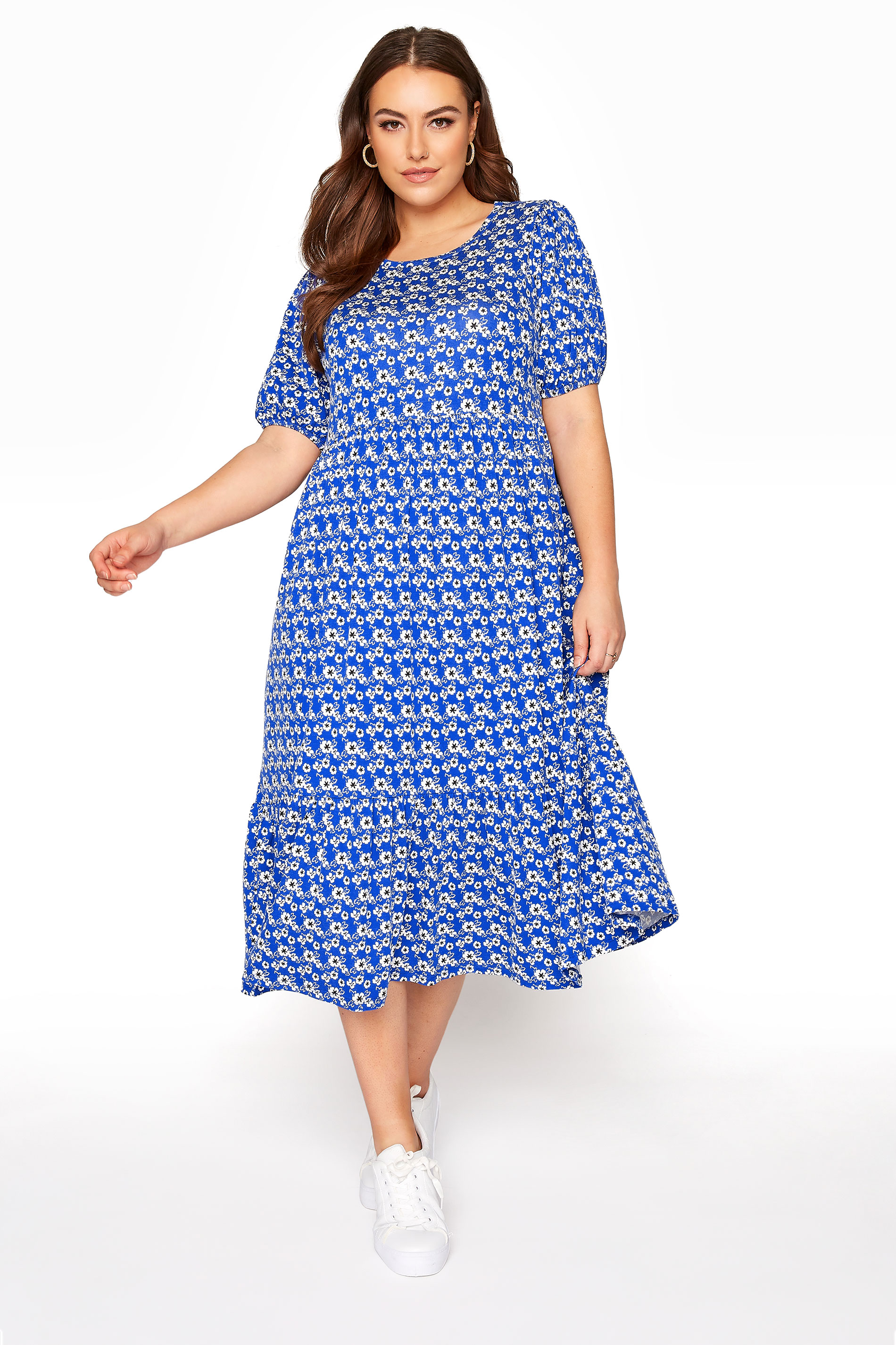 Blue Floral Peplum Midaxi Dress