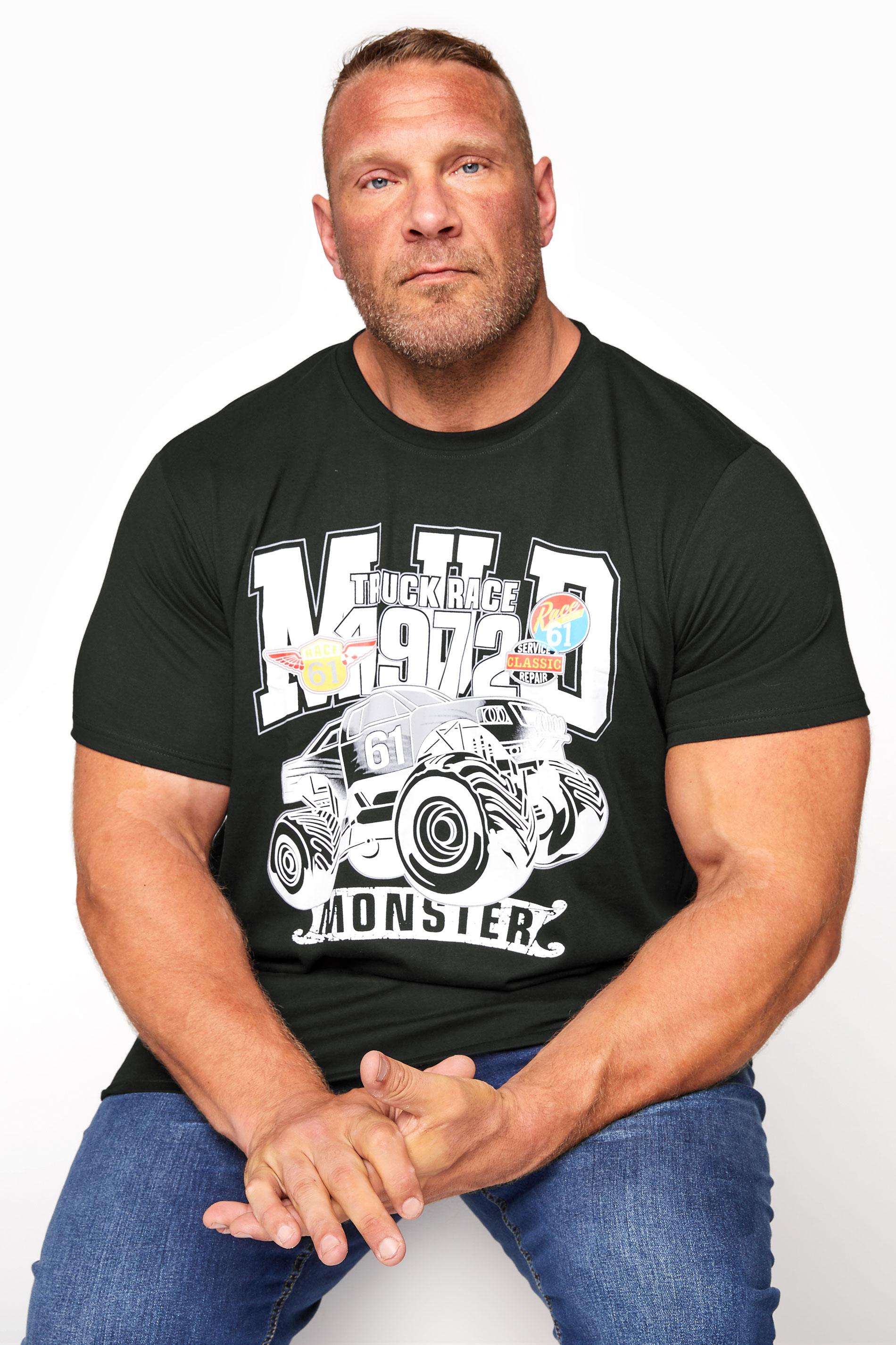 BadRhino Black Monster Truck Graphic Print T-Shirt