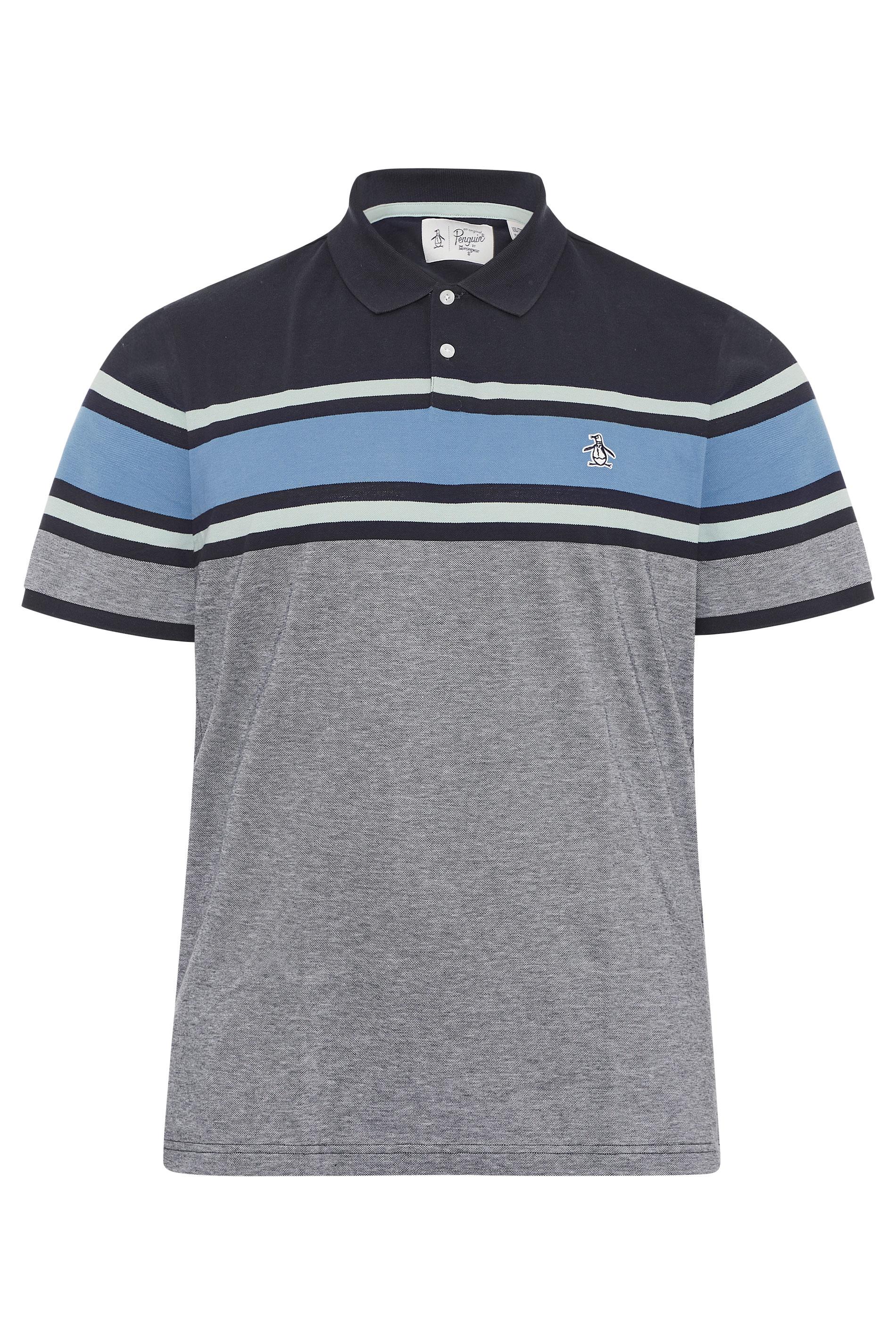 PENGUIN MUNSINGWEAR Marineblaues gestreiftes Polo Hemd