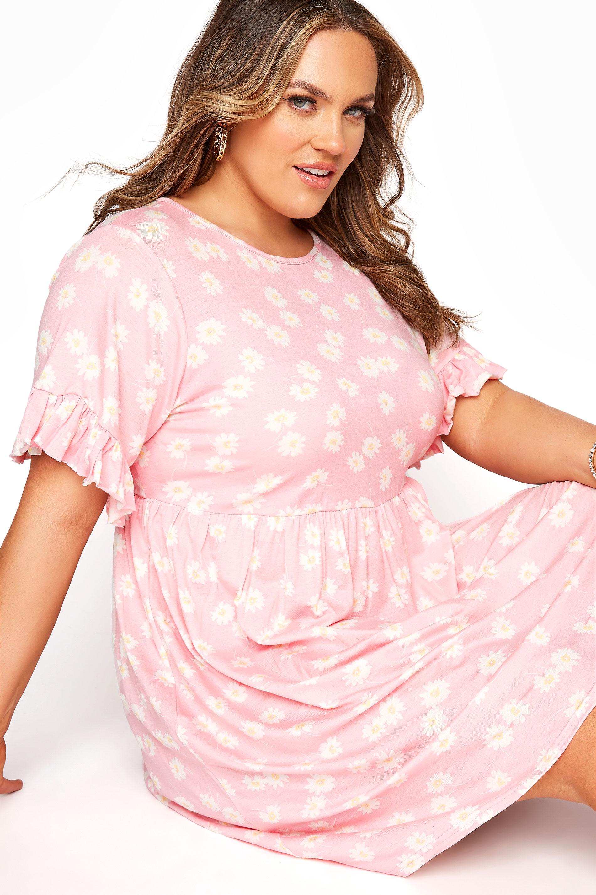 Pink Floral Print Short Frill Sleeve Dress_D.jpg