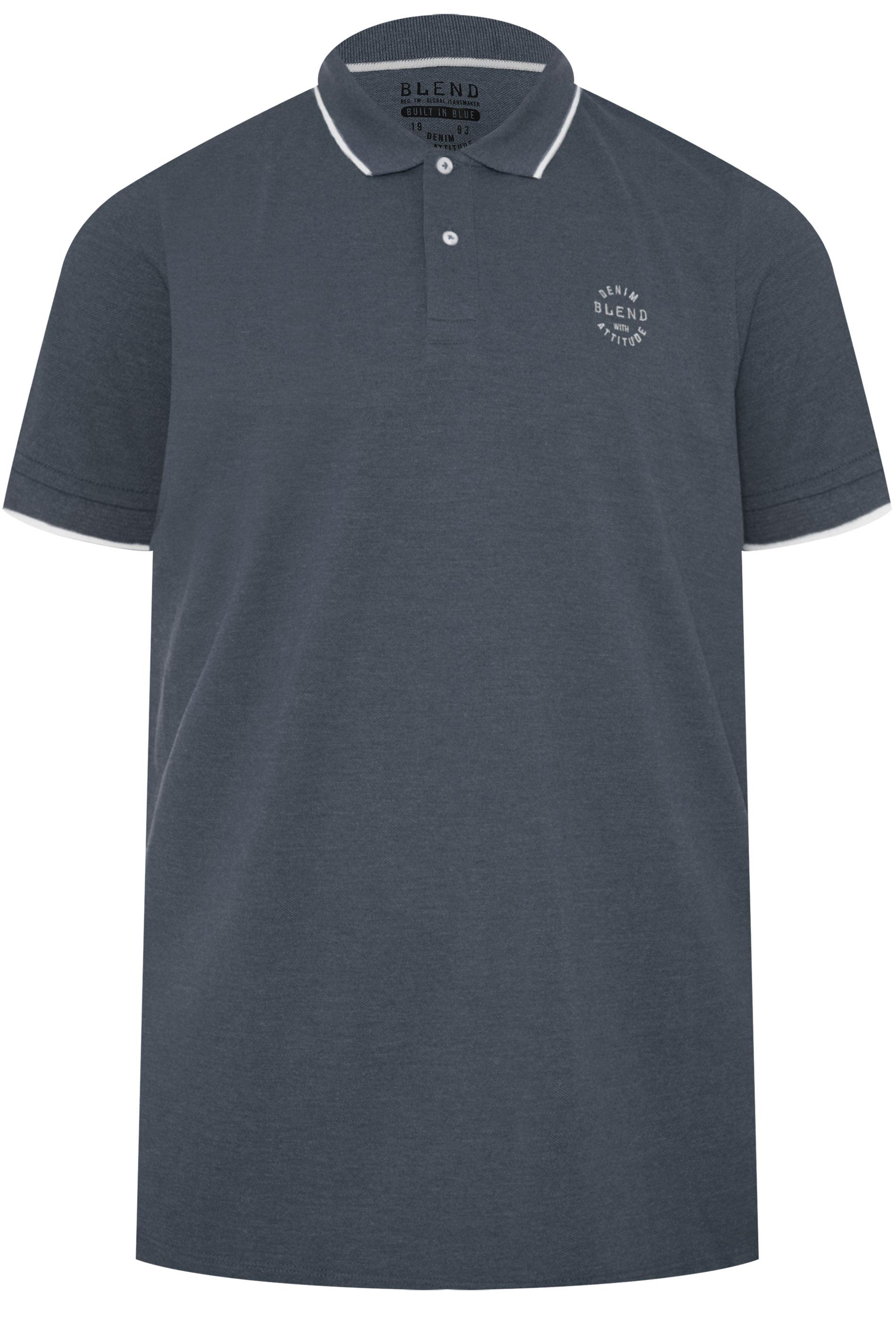BLEND Indigo Blue Polo Shirt