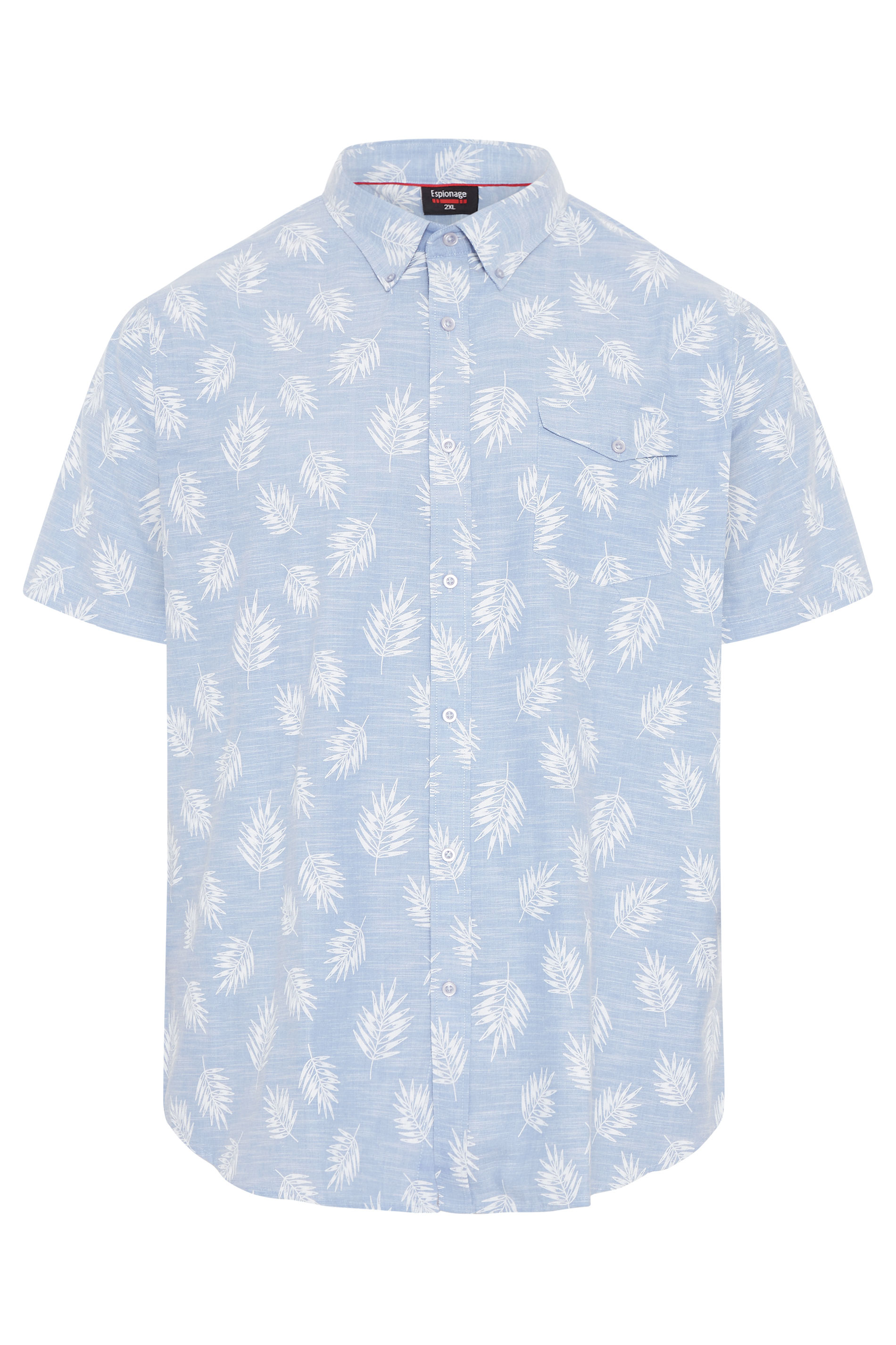 ESPIONAGE Light Blue Leaf Print Button Down Shirt