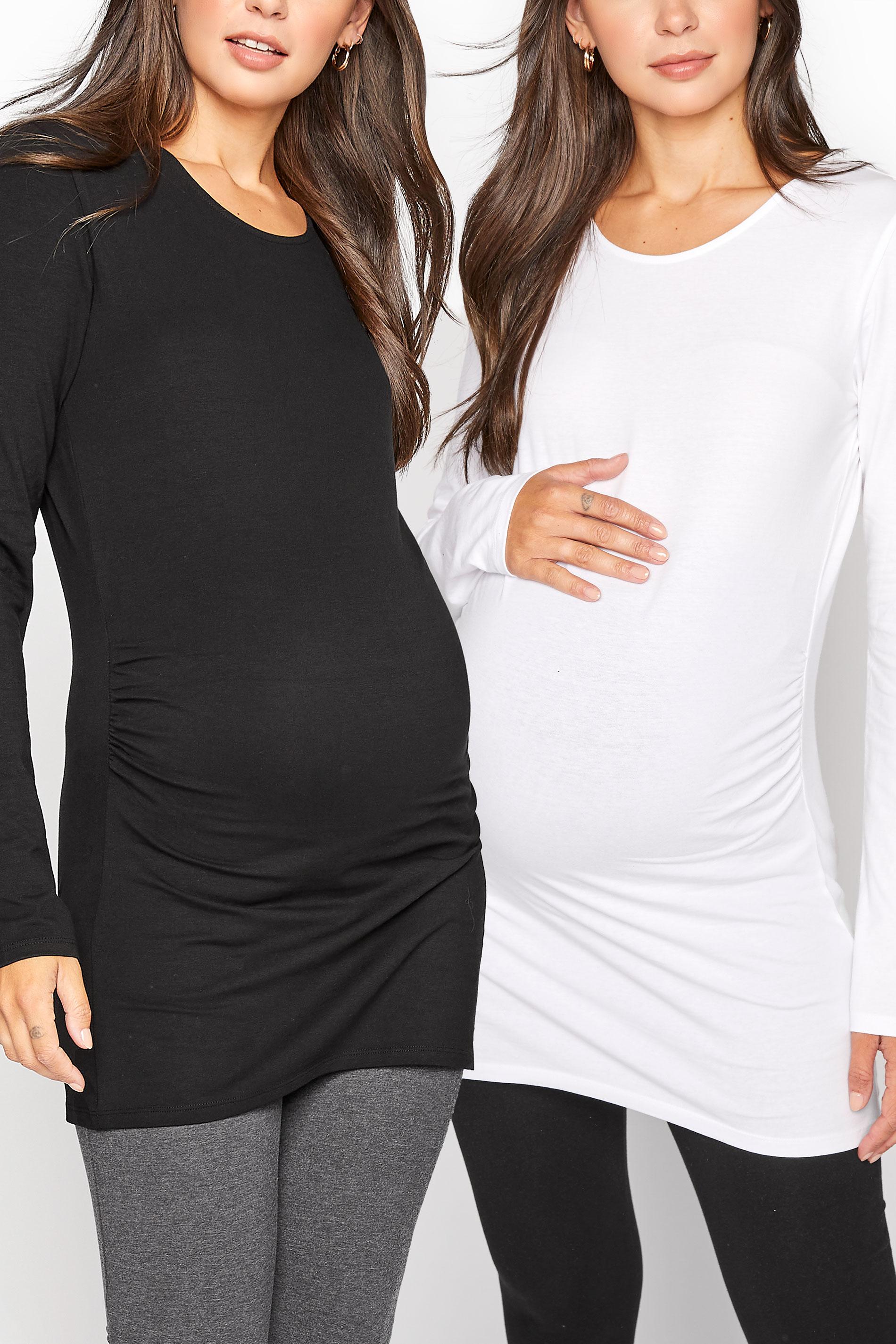 LTS 2 PACK Maternity Black & White Long Sleeve Top_split.jpg