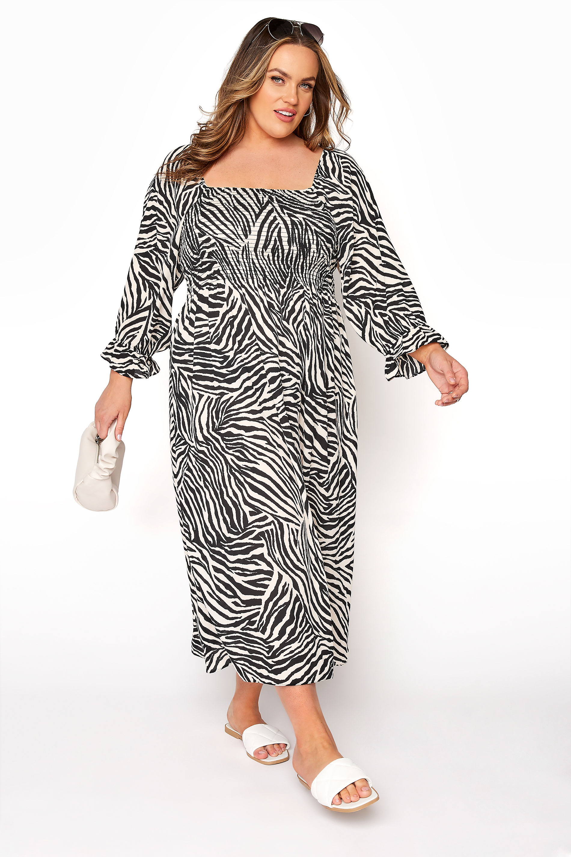 YOURS LONDON Black Zebra Print Shirred Front Midaxi Dress_B.jpg