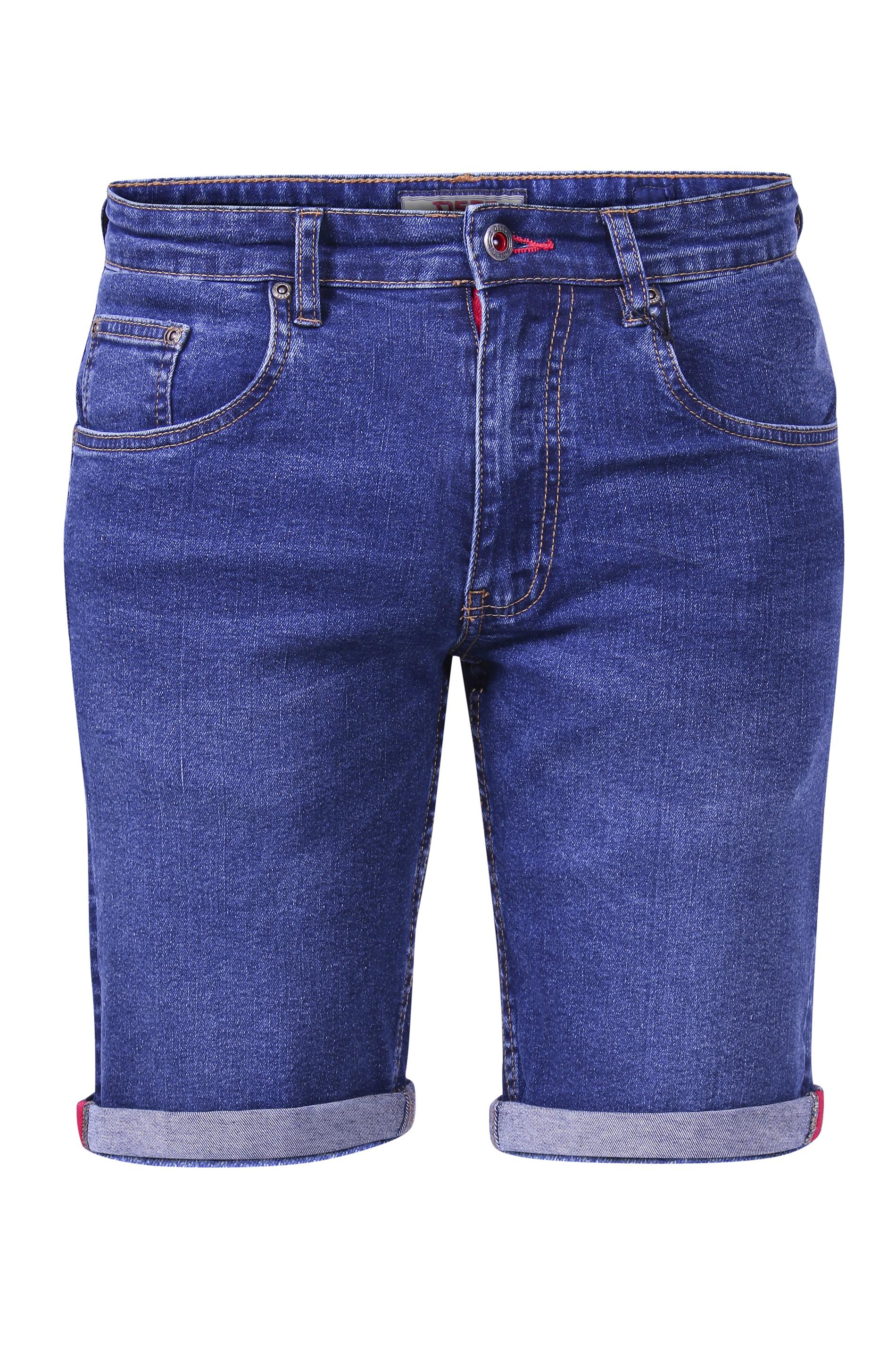 D555 Mid-Blue Stretch Denim Shorts