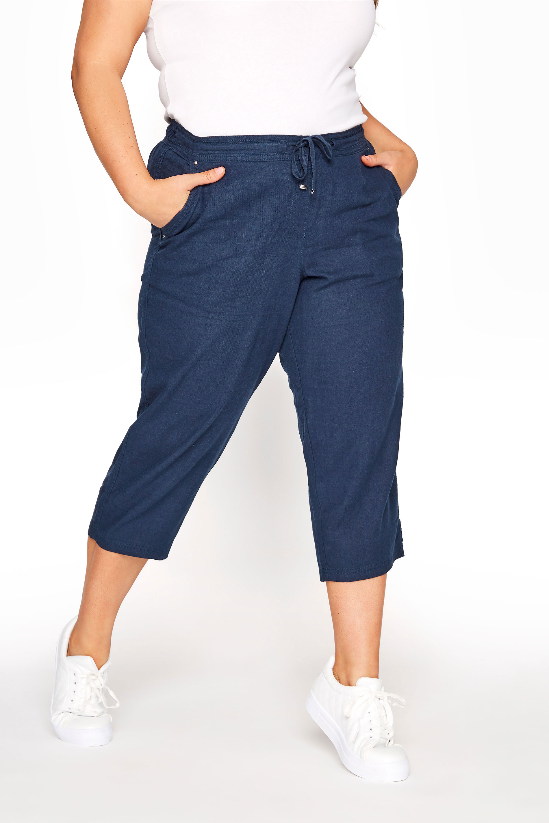 Navy Cropped Linen Mix Trousers_B.jpg