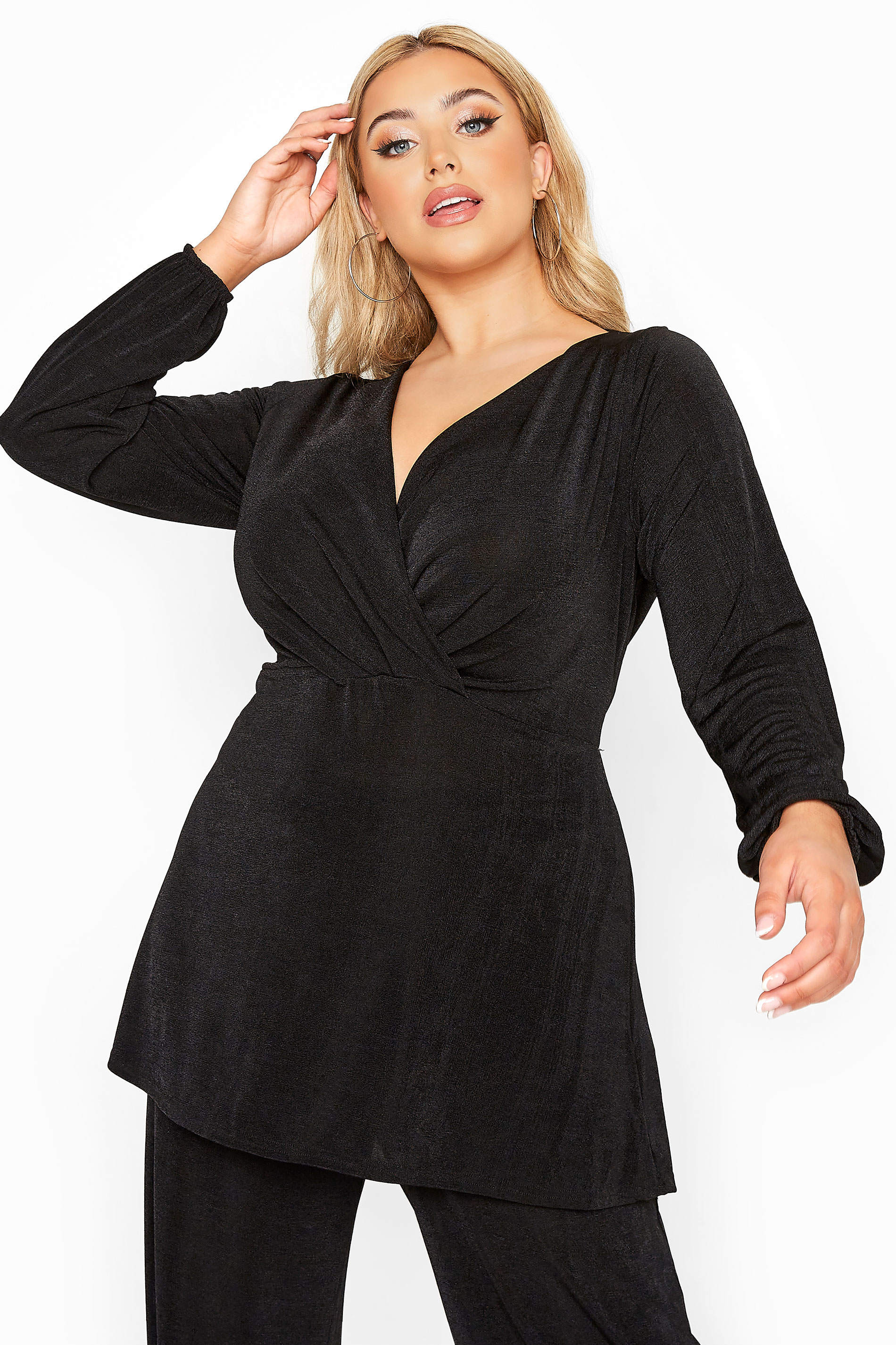 YOURS LONDON Black Slinky Co-ord Wrap Top