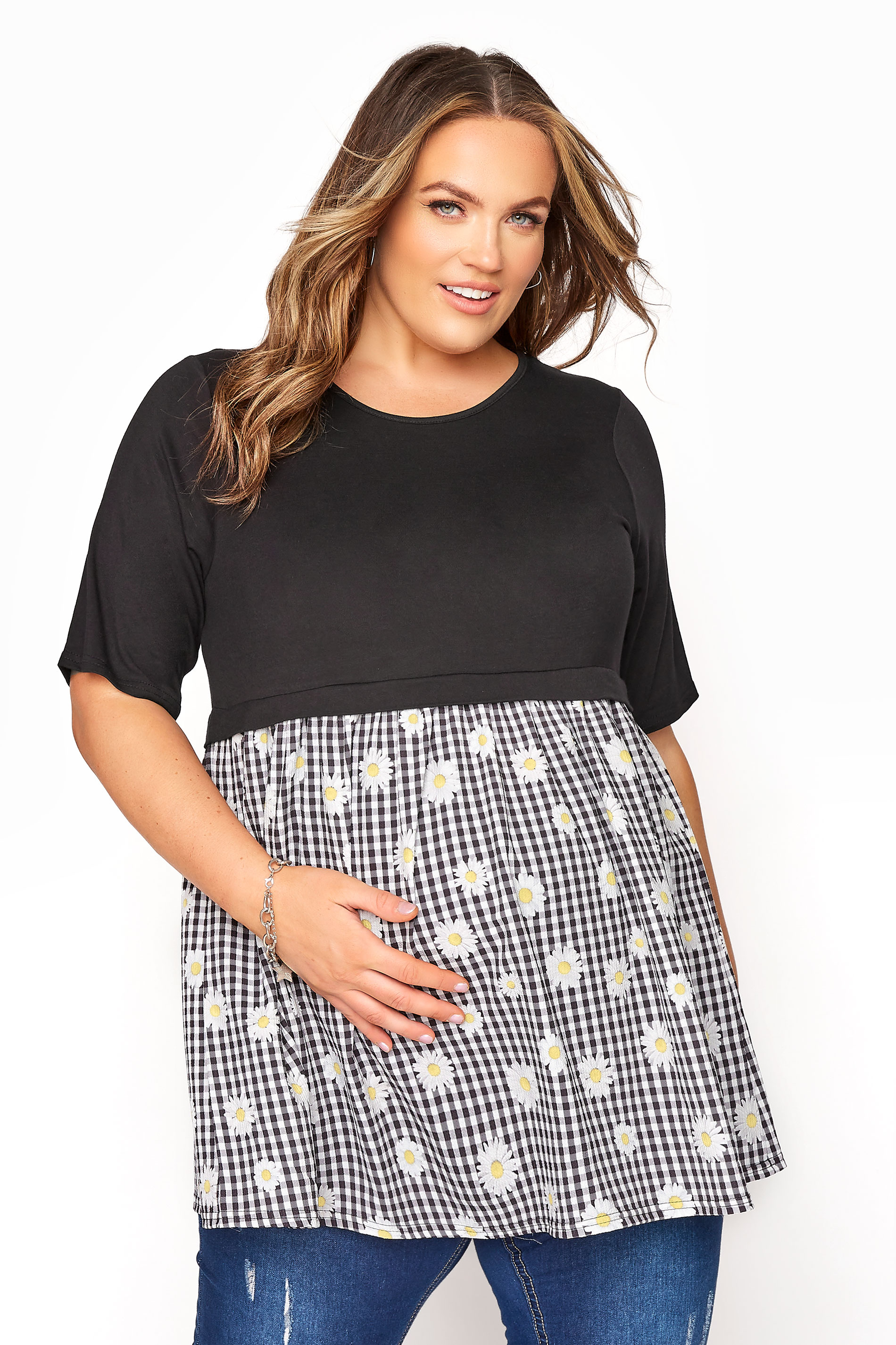 BUMP IT UP MATERNITY Black Gingham Floral Contrast Top_A.jpg