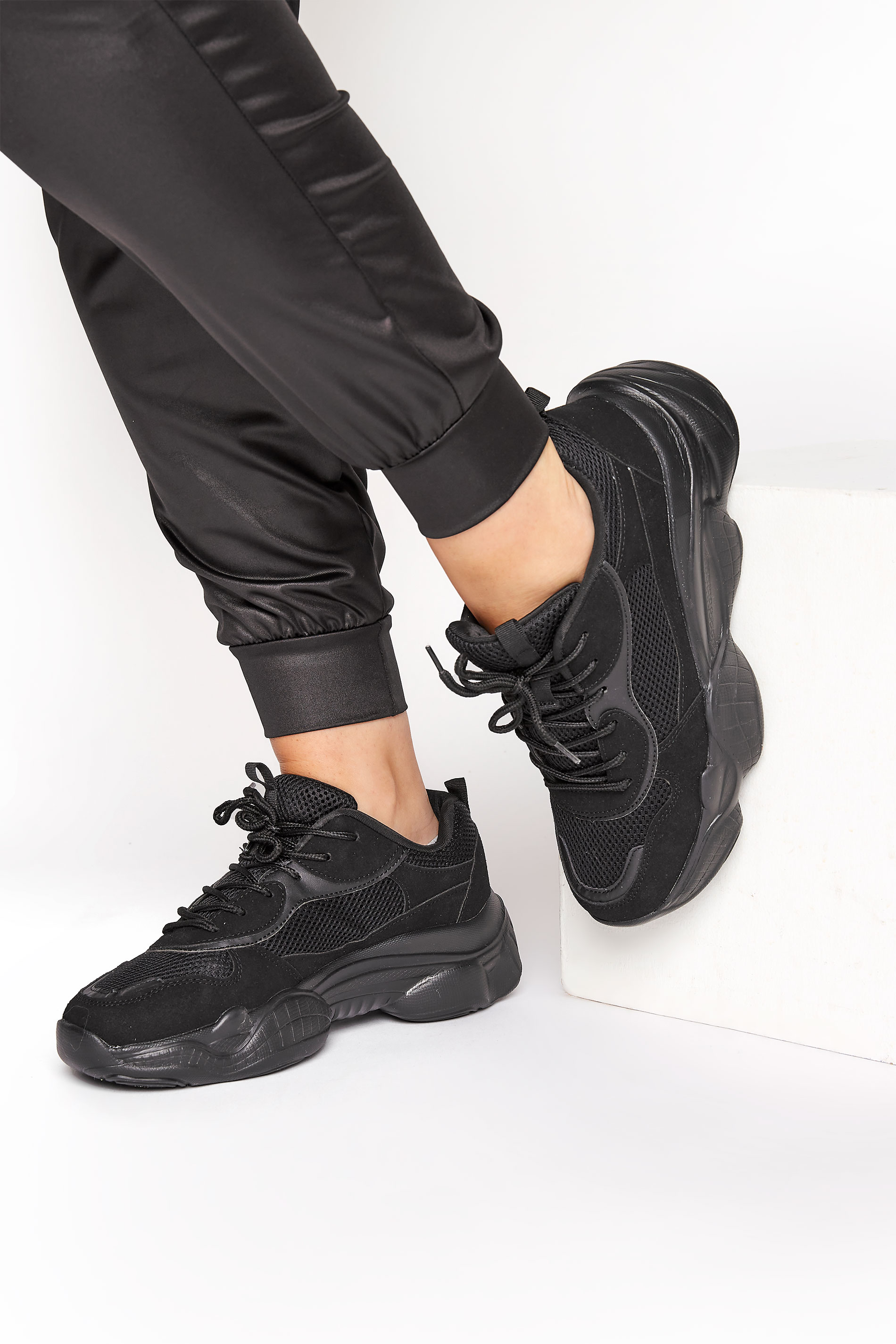 LIMITED COLLECTION Black Mesh Lace Up Chunky Trainers In Regular Fit