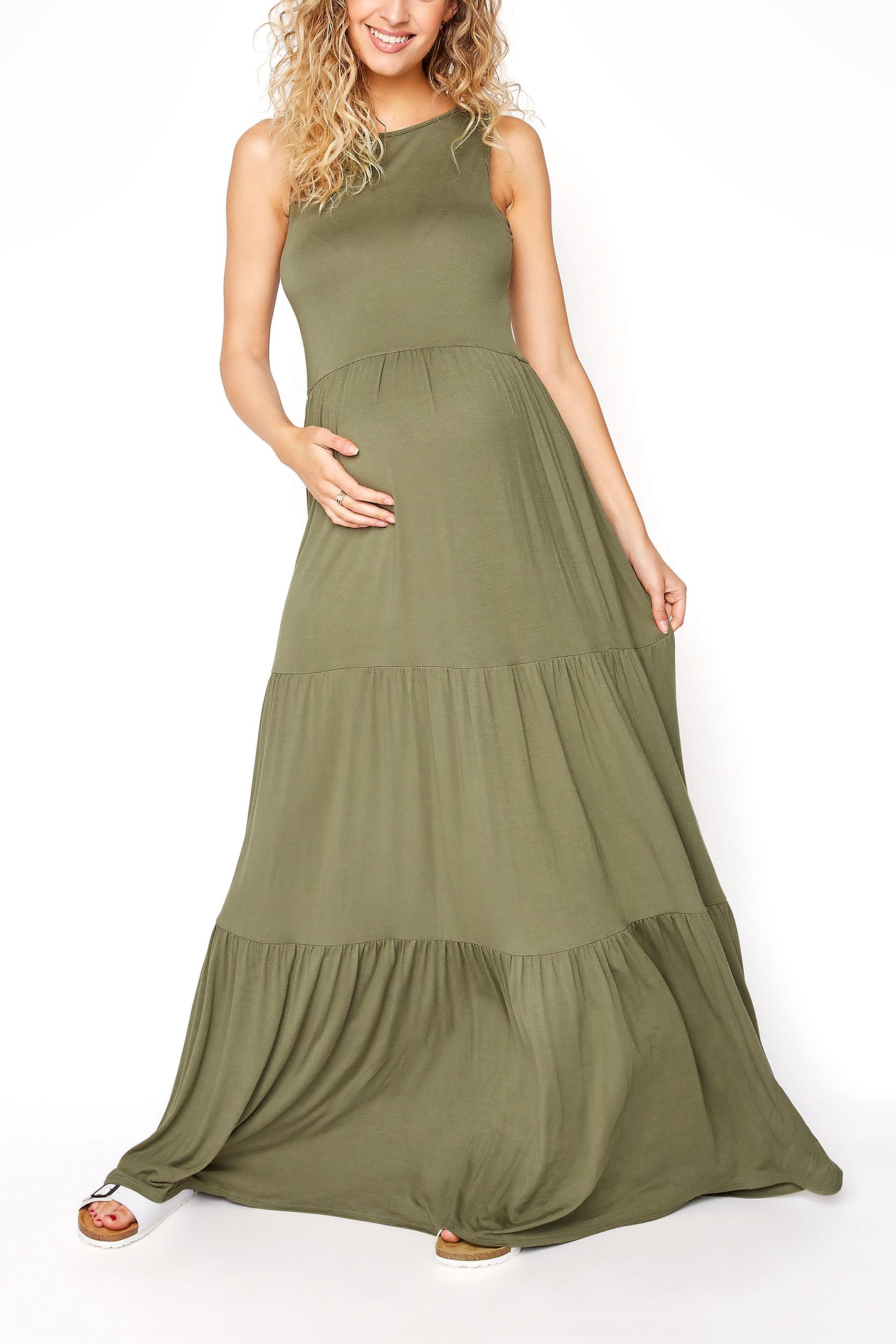 LTS Maternity Khaki Tiered Maxi Dress_A.jpg