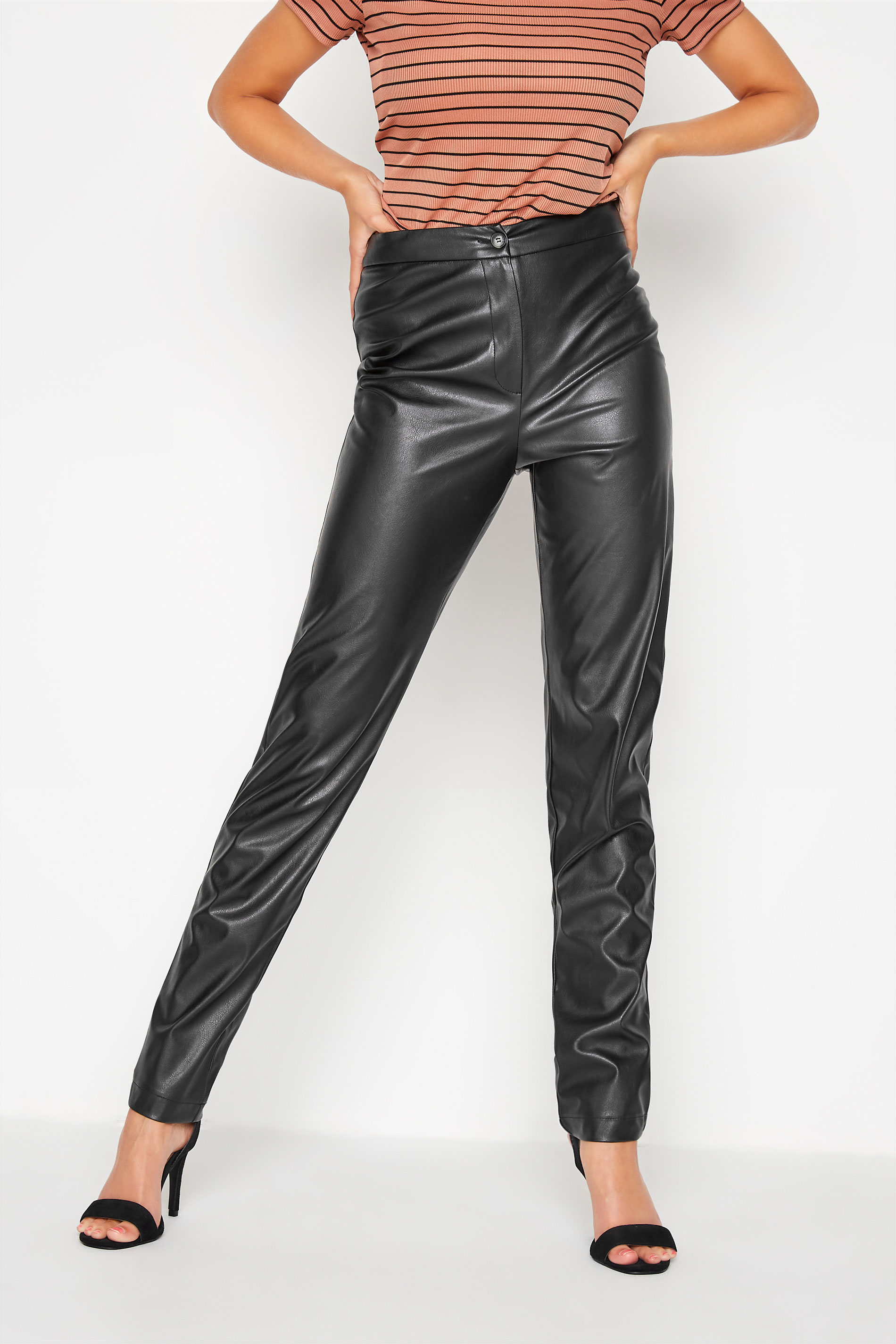 LTS Black Faux Leather Slim Leg Trousers_B.jpg