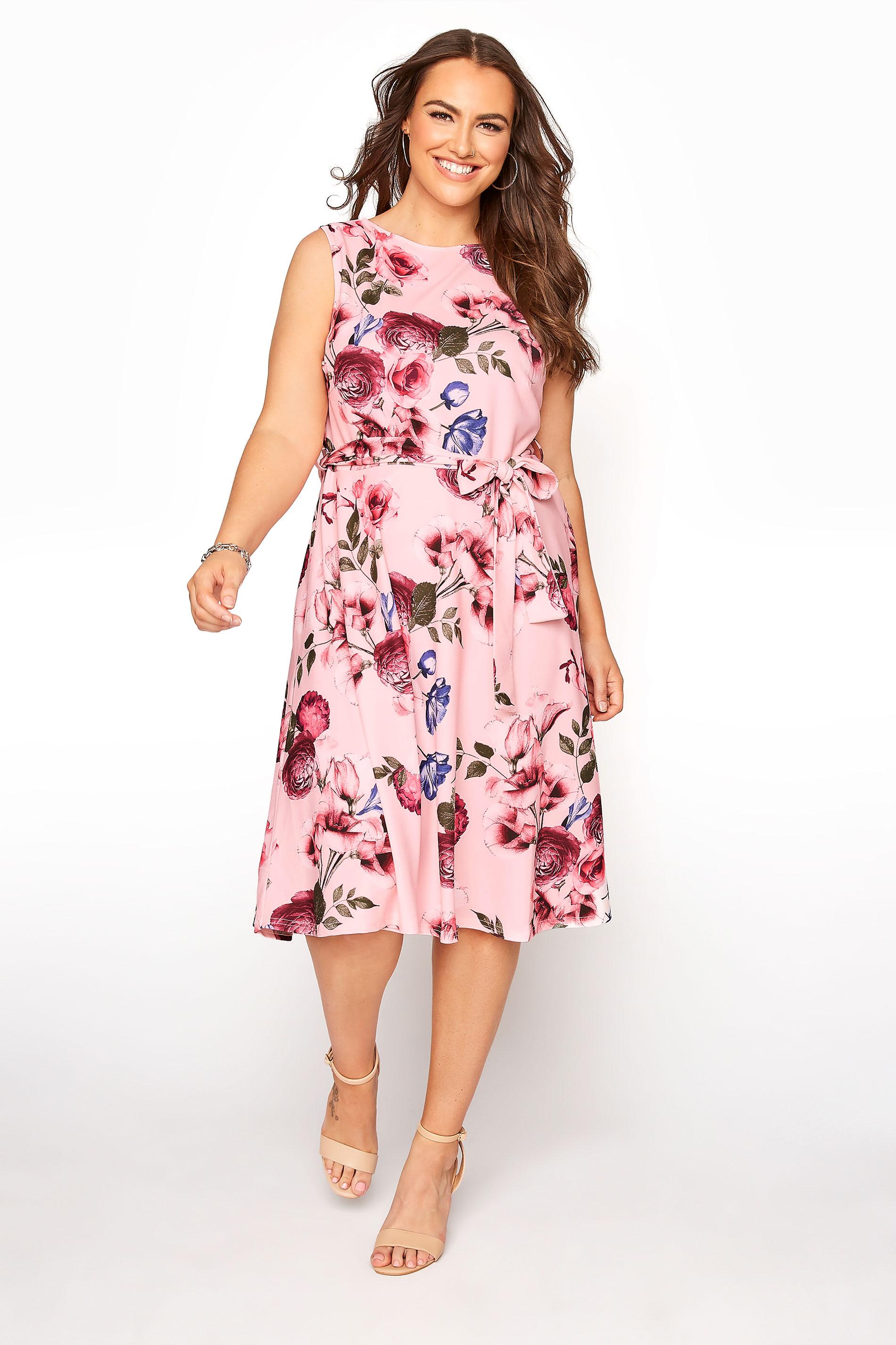 YOURS LONDON Pink Floral Skater Dress_A.jpg
