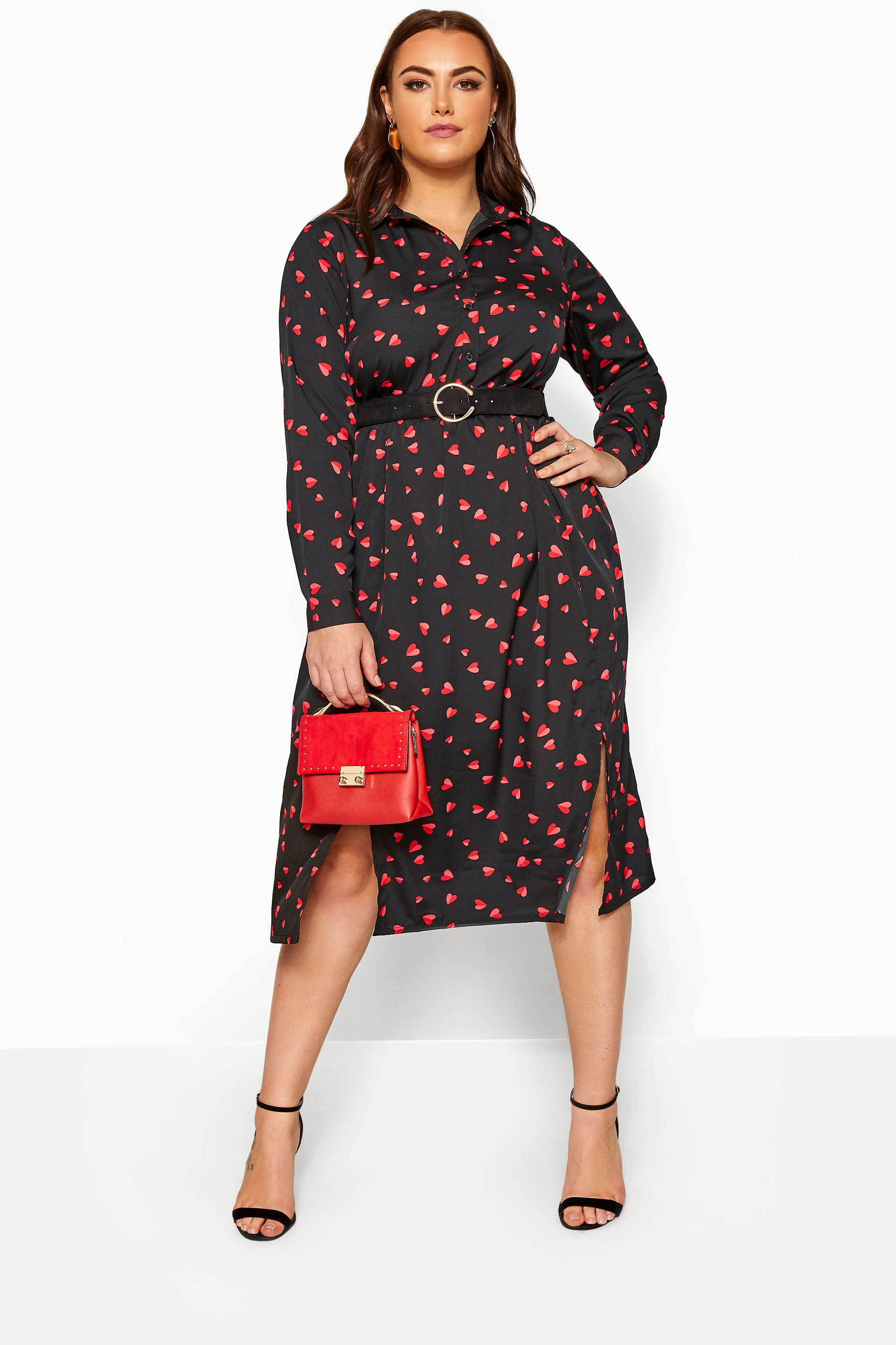 Black Heart Print Shirt Dress