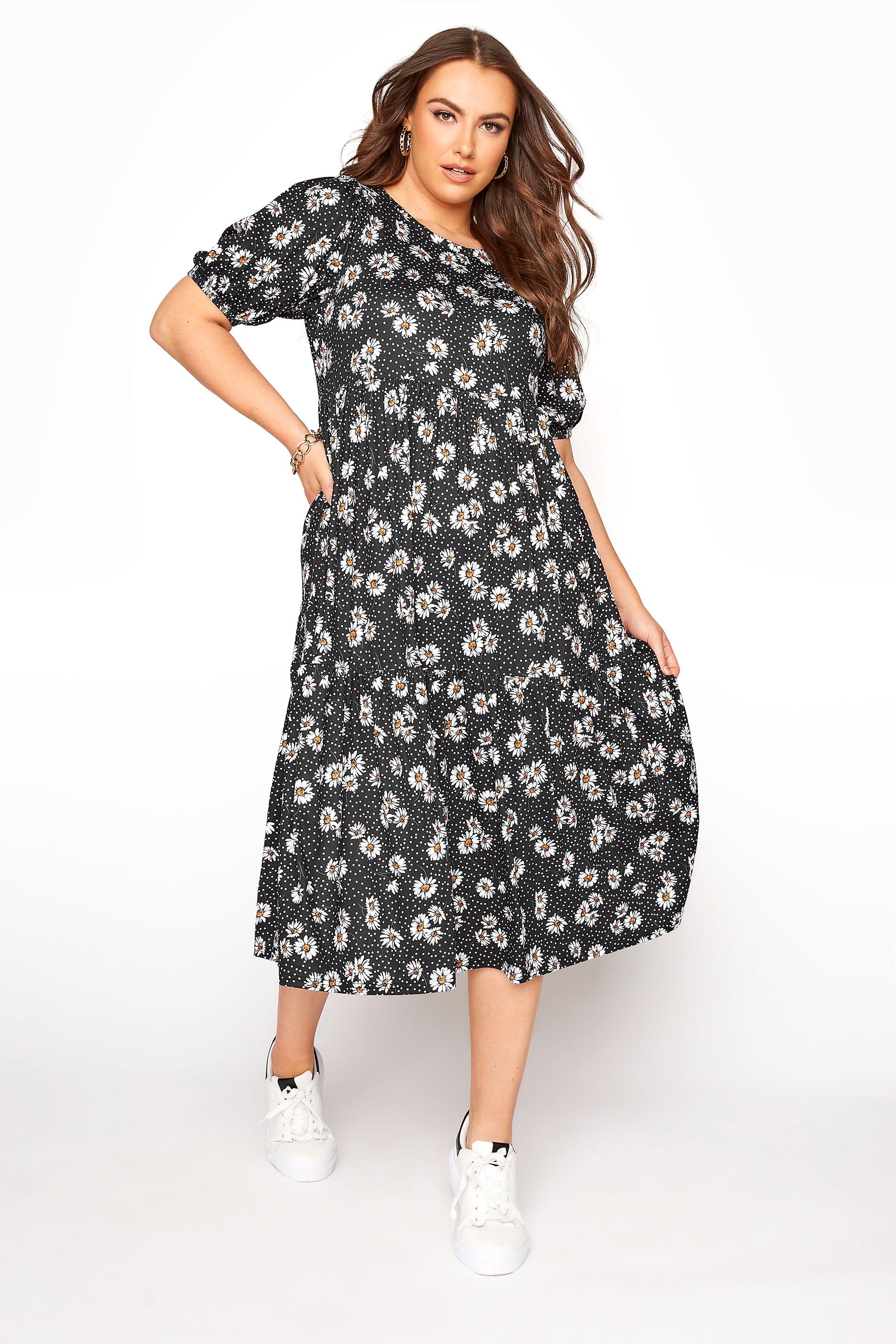 Black Daisy Print Puff Sleeve Midaxi Dress