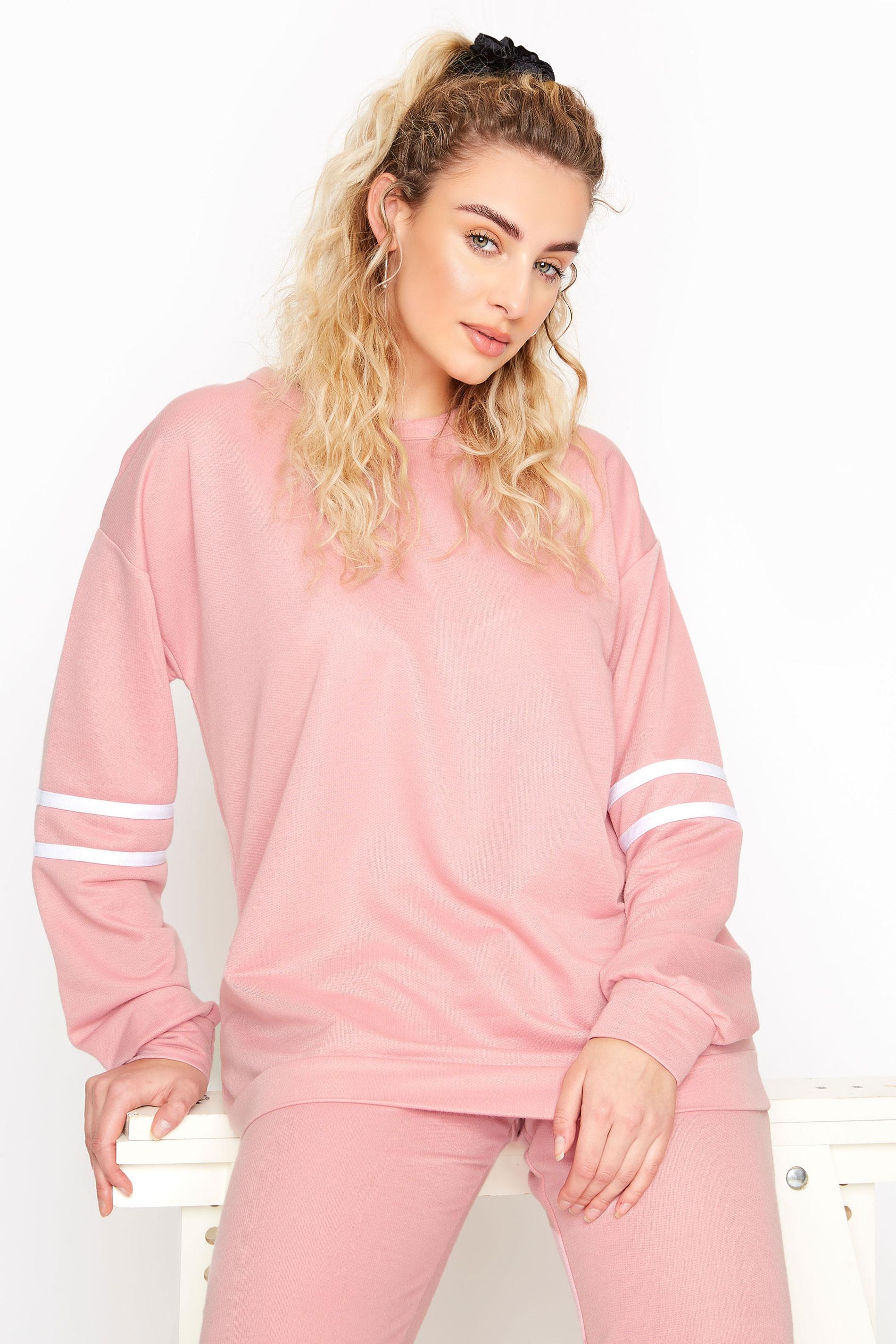 LTS Pink Varsity Stripe Co-ord Sweatshirt