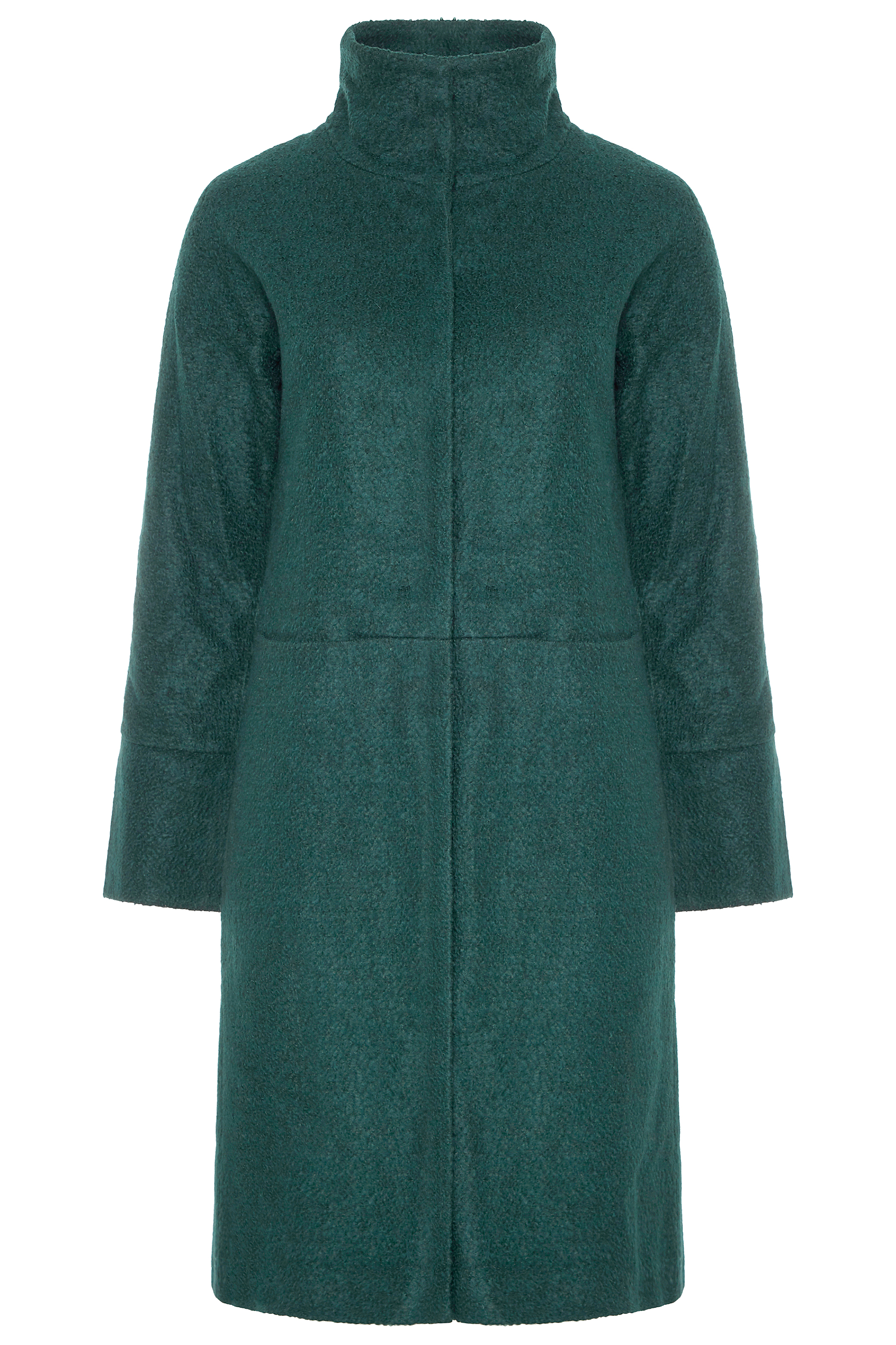 Bottle Green Wool Mix Funnel Neck Coat