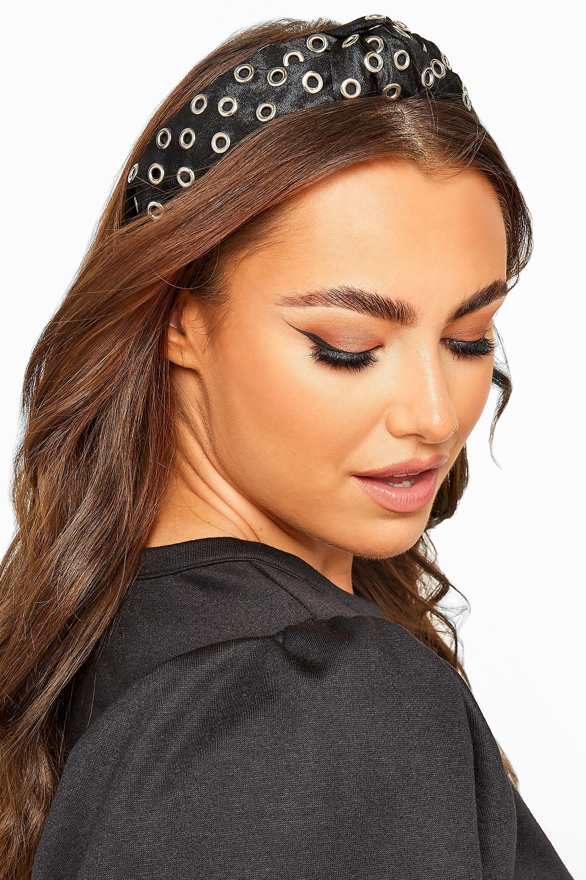 Black Satin Eyelet Headband