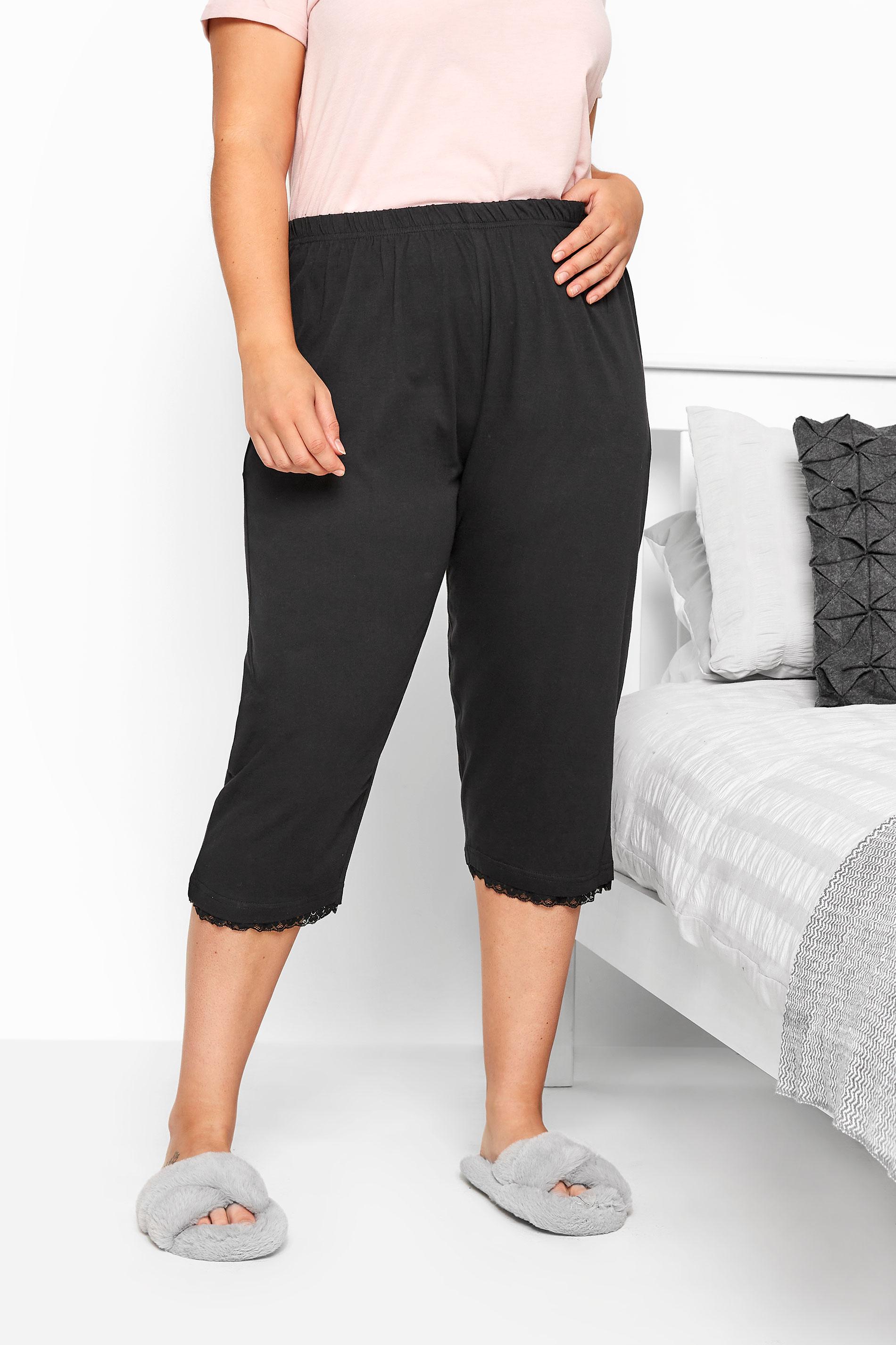 Cropped pyjamabroek van katoen met sierkant in zwart