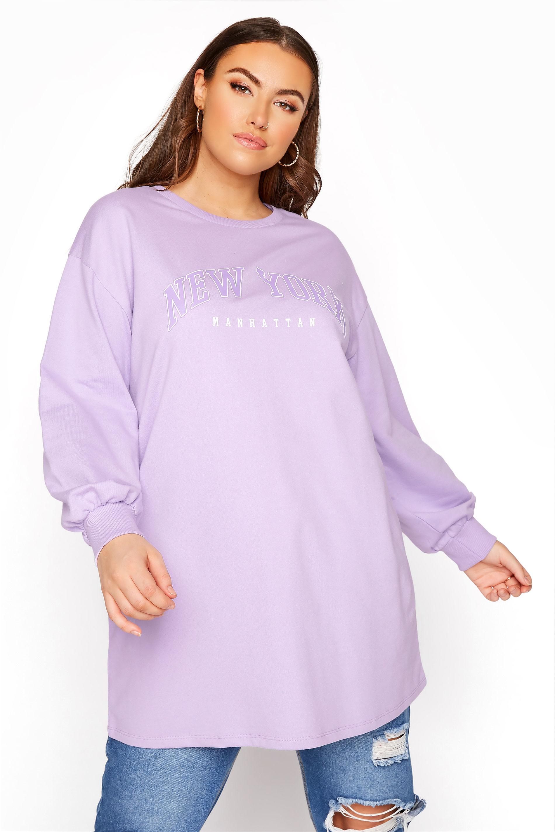Lilac 'New York' Slogan Sweatshirt