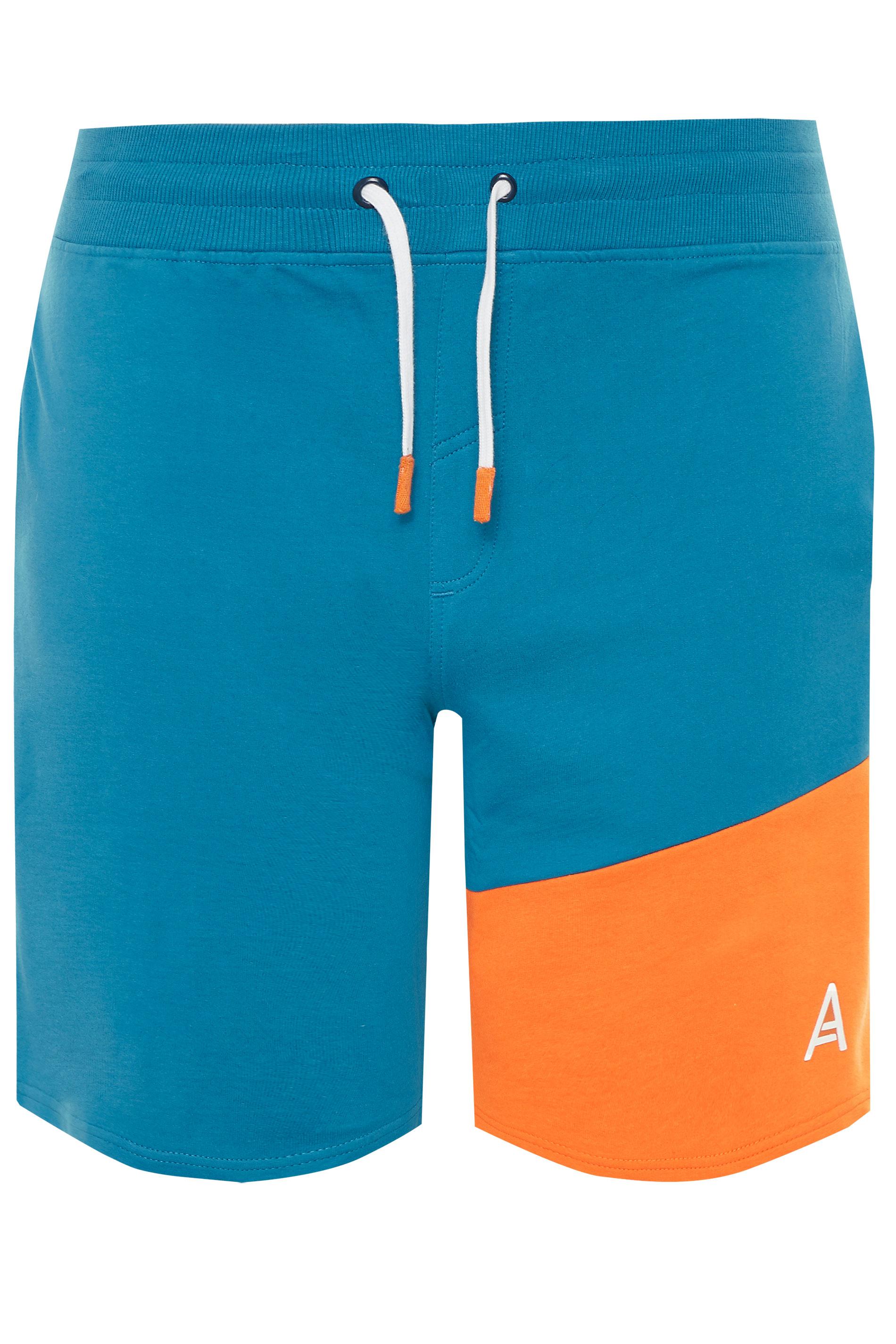 STUDIO A Blue Colour Block Shorts