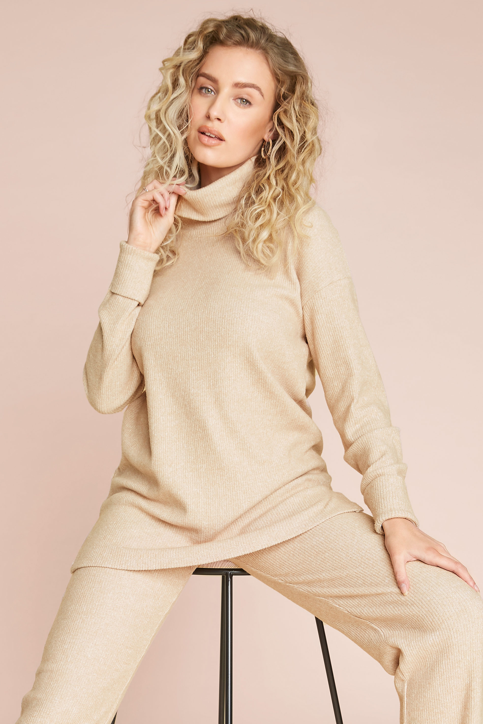 LTS Beige Longline Co-ord Lounge Top