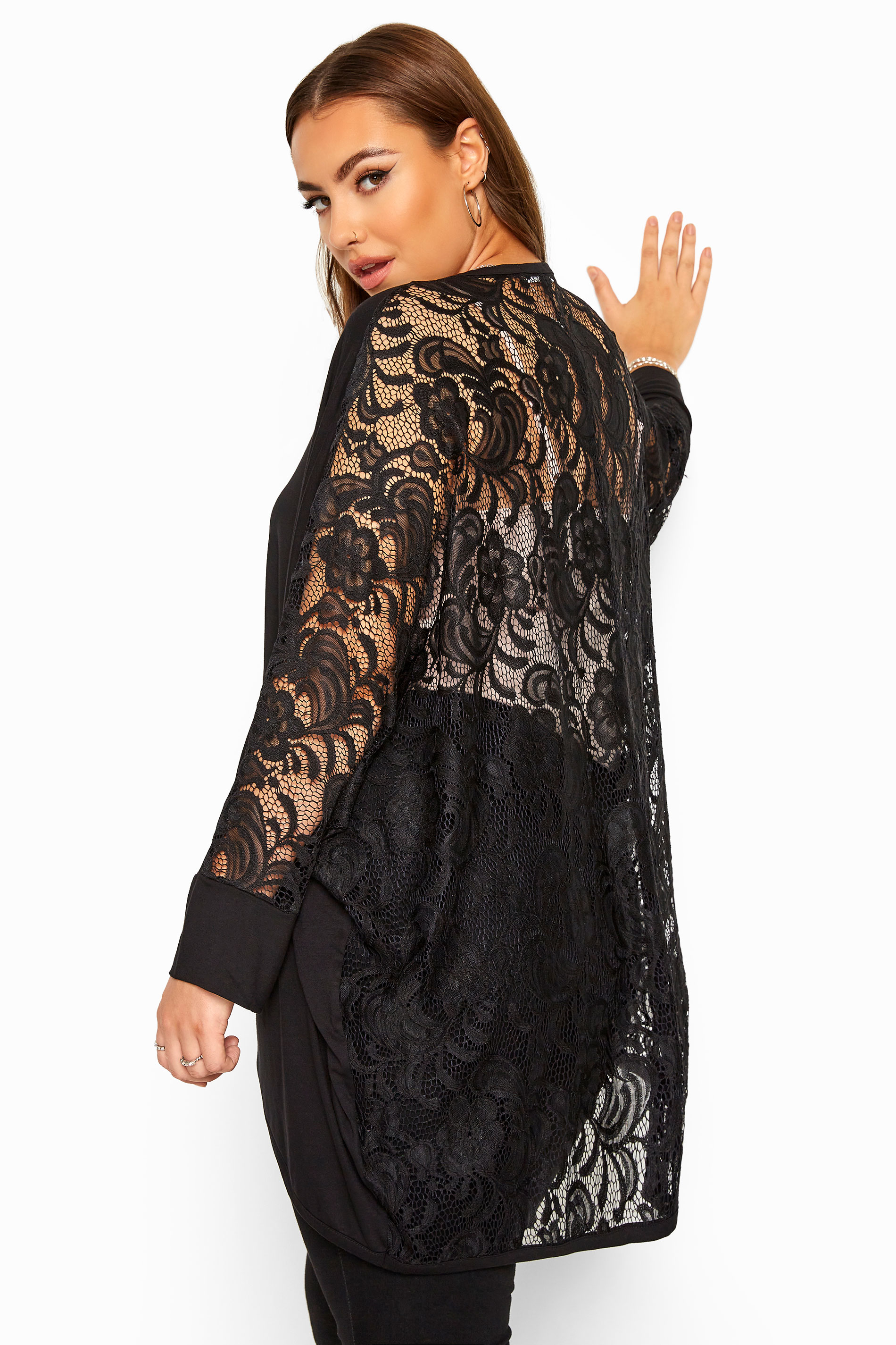 YOURS LONDON Black Lace Back Cocoon Cardigan