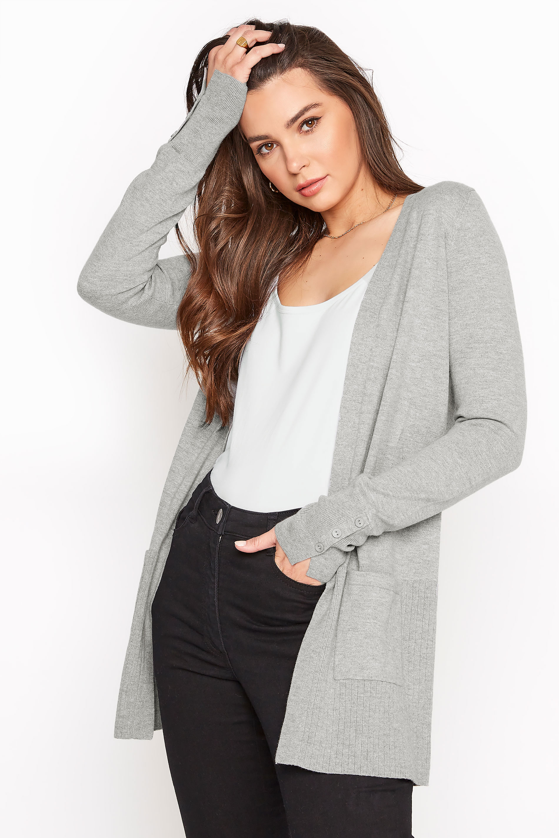 Grey Marl Cotton Ribbed Trim Cardigan