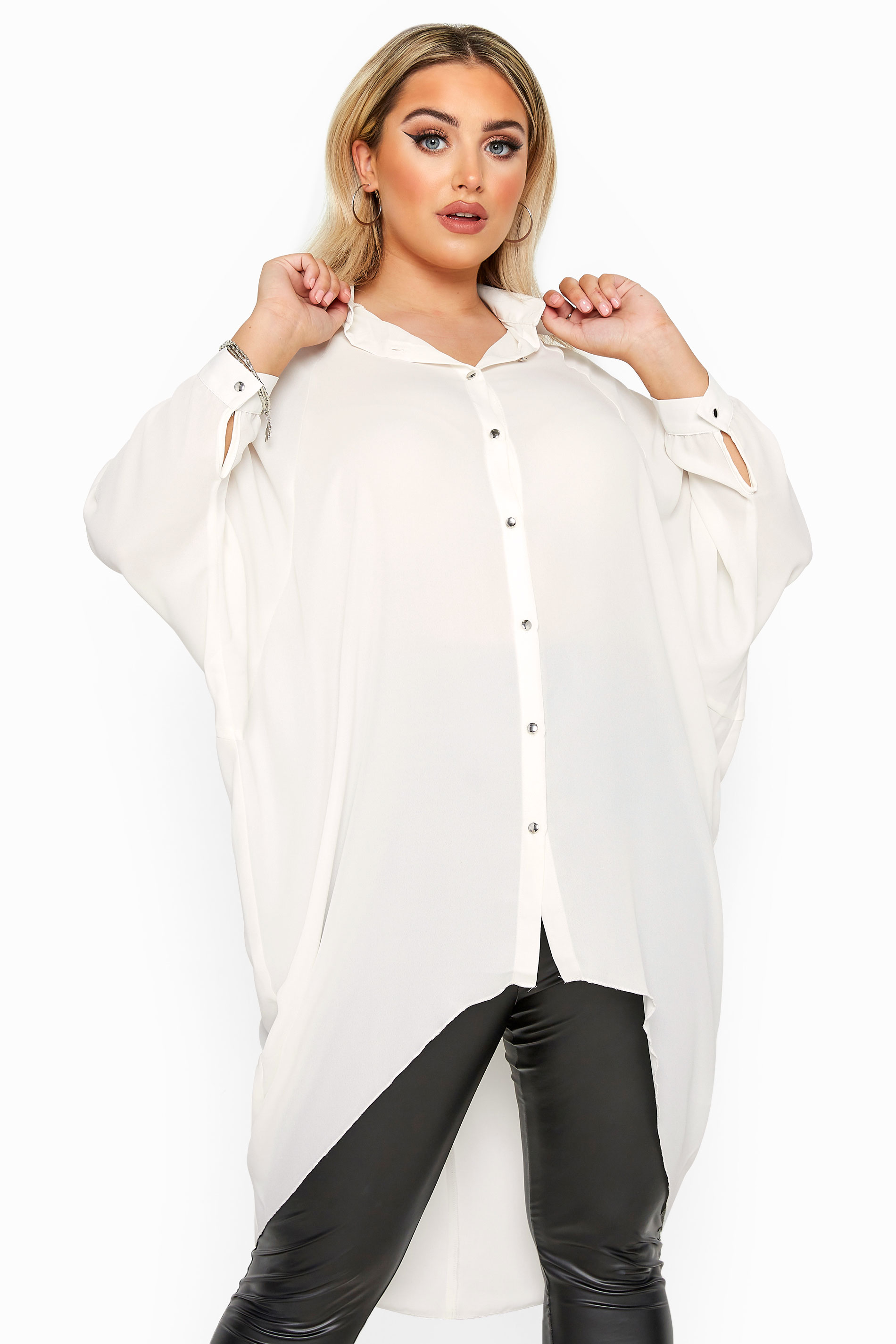 YOURS LONDON Cream Oversized Dipped Hem Shirt