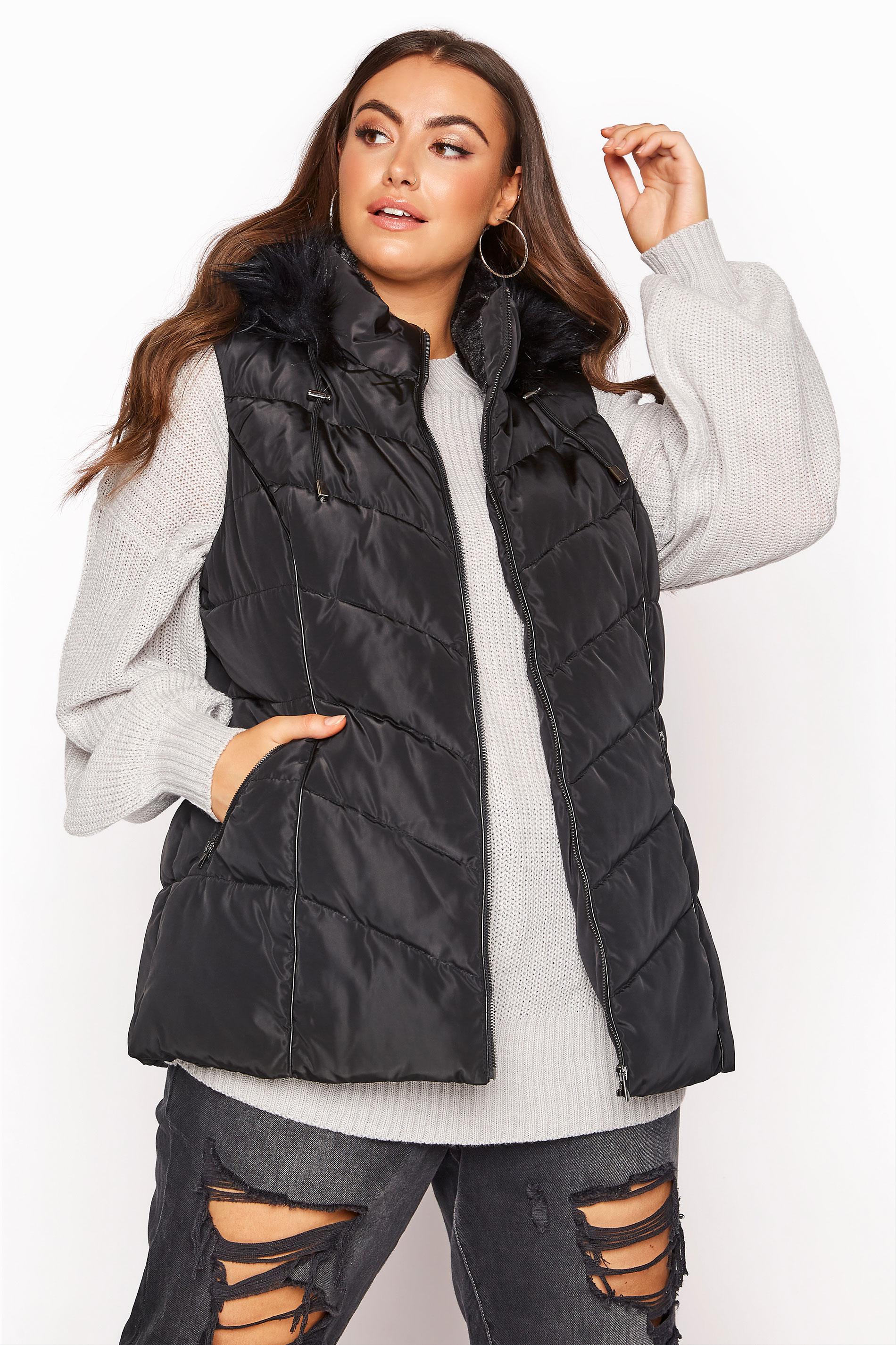 Black Faux Fur Hood Padded Gilet_RA.jpg