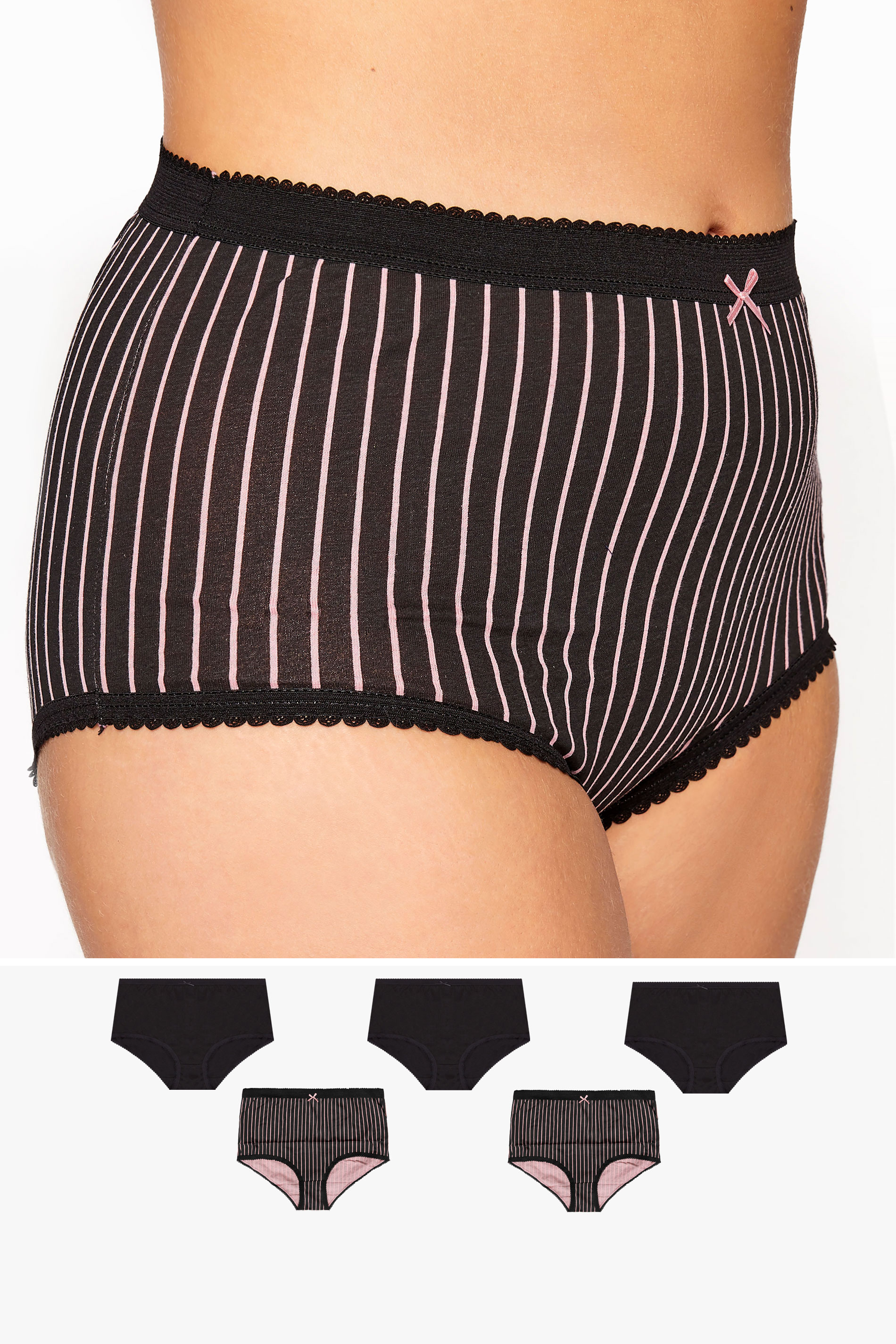 5 PACK Black & Pink Stripe Lace Full Briefs_split.jpg