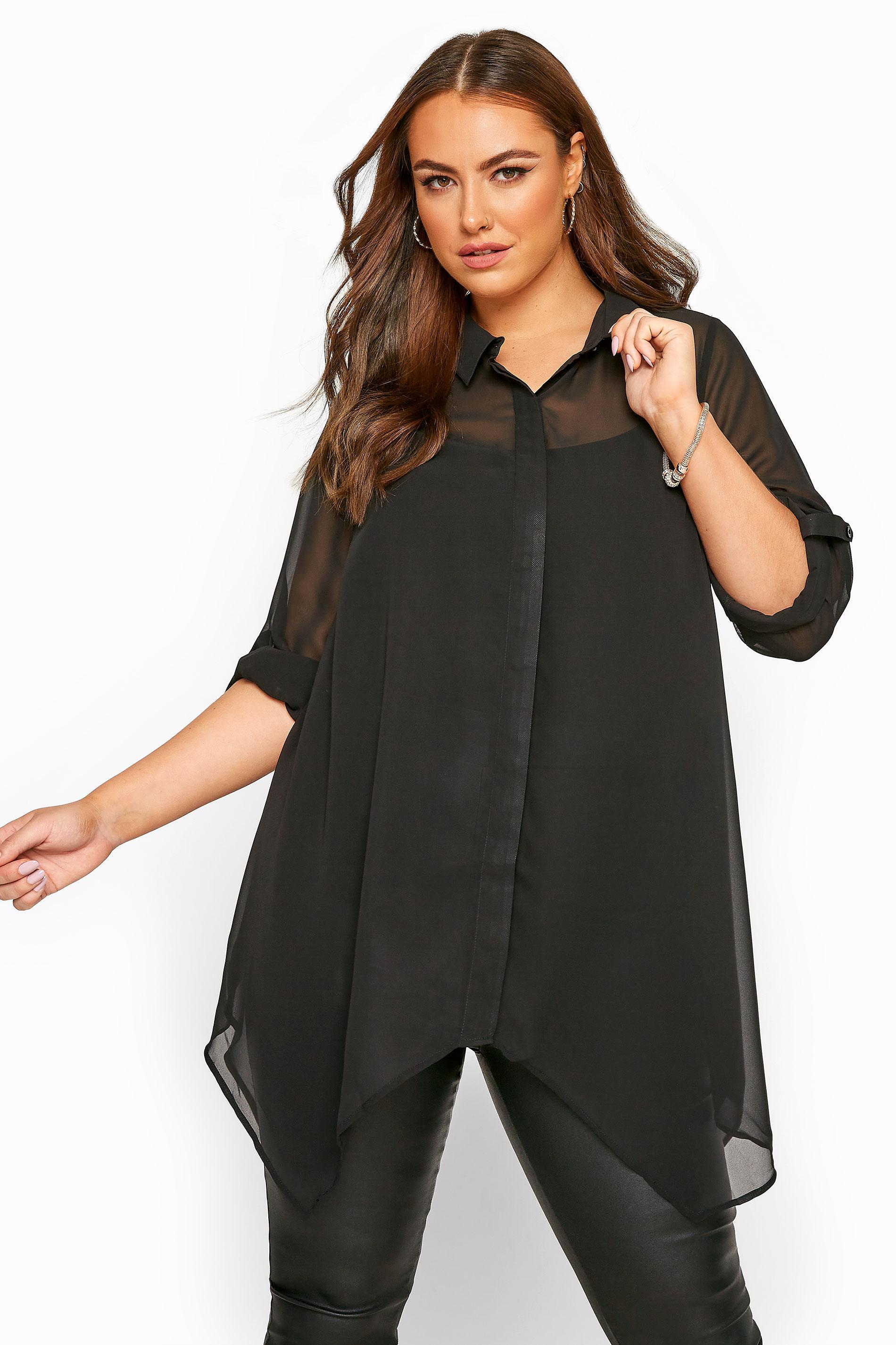 Black Chiffon Hanky Hem Shirt