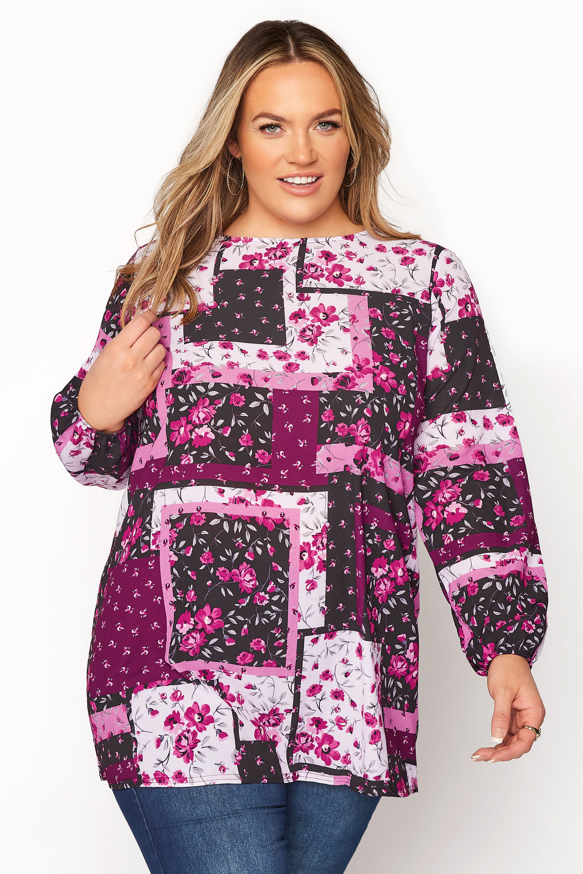 YOURS LONDON Pink Floral Patchwork Blouse_A.jpg