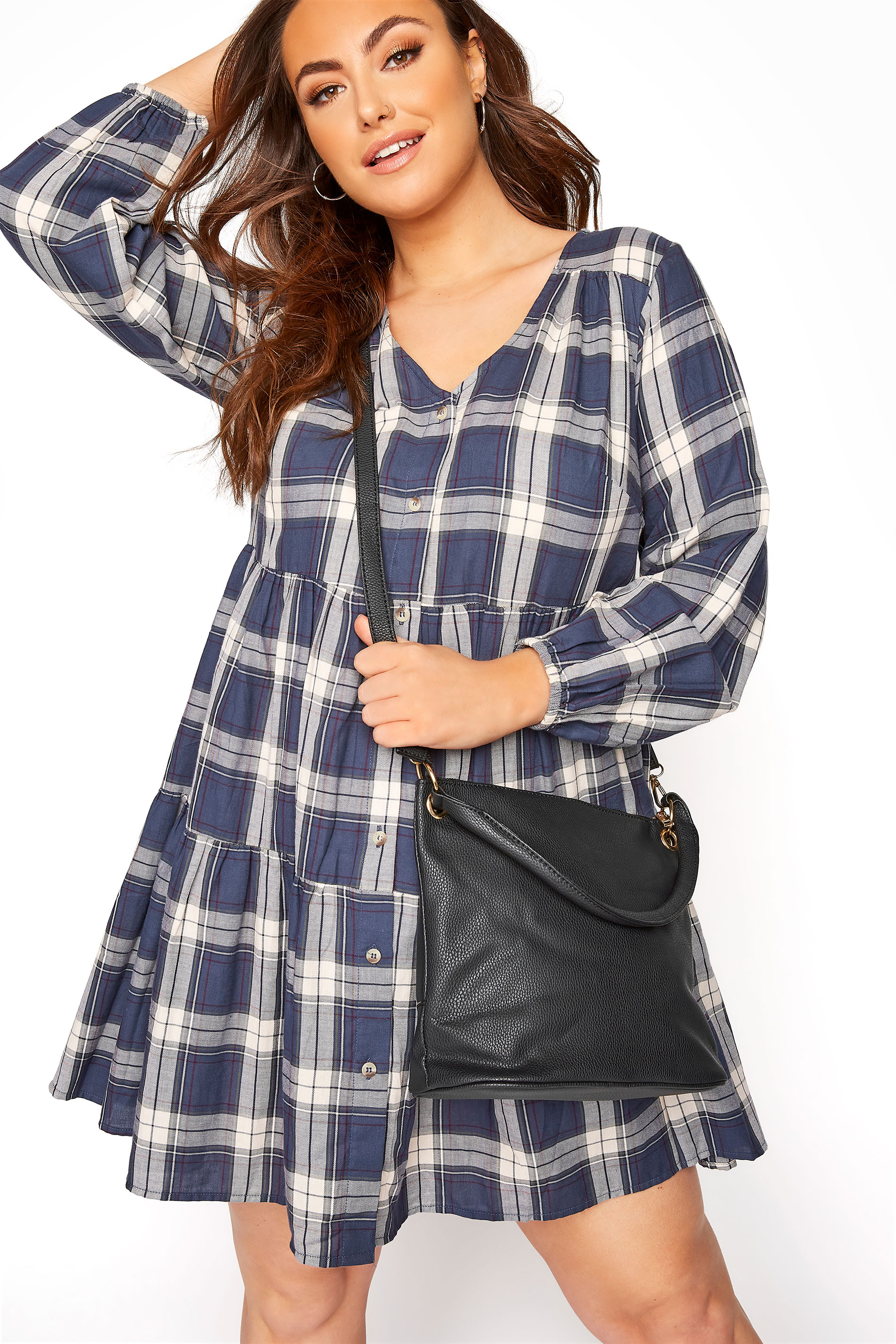 Black Dual Strap Zip Detail Shoulder Bag