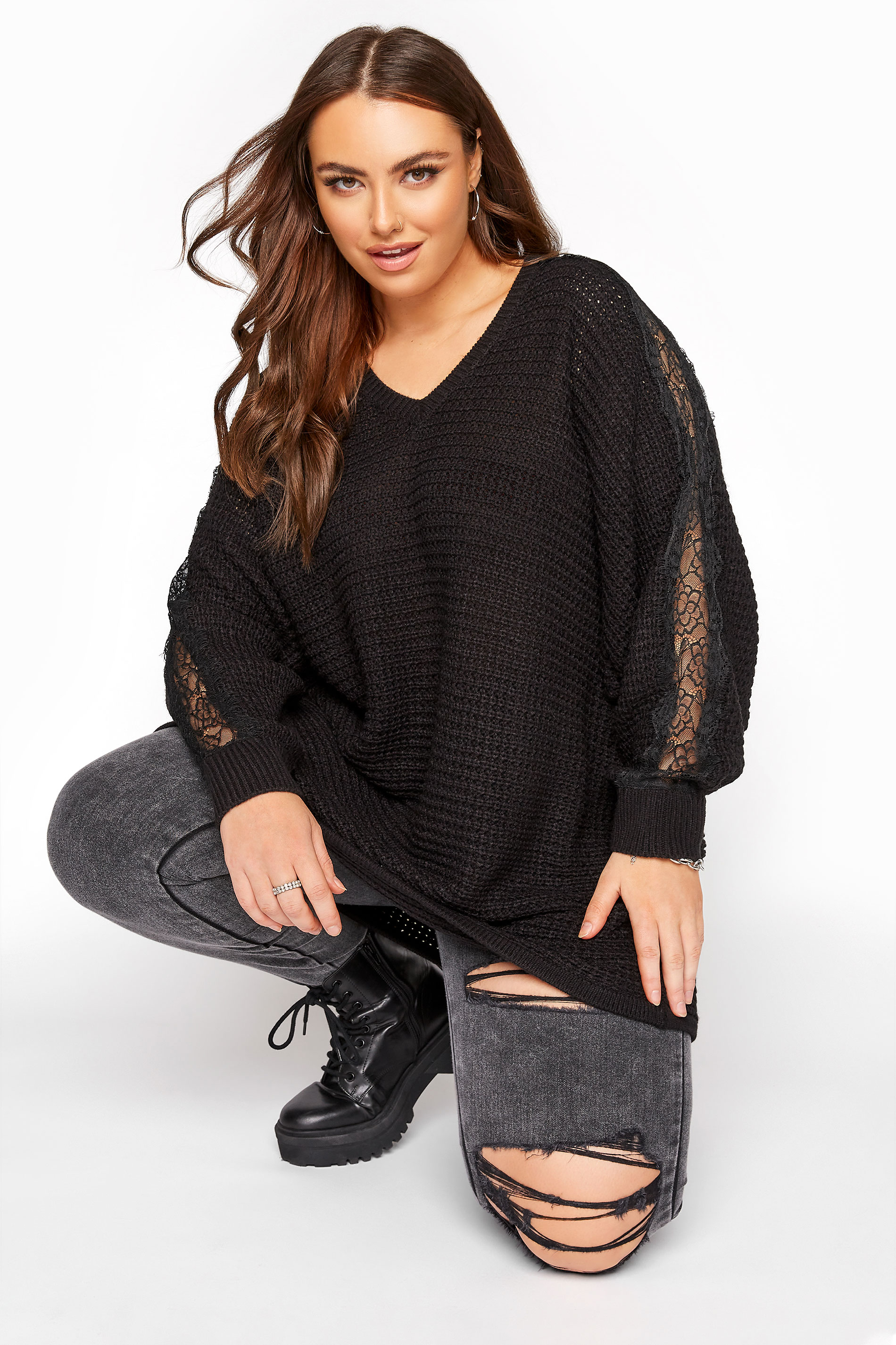 Black Lace Sleeve Knitted Jumper