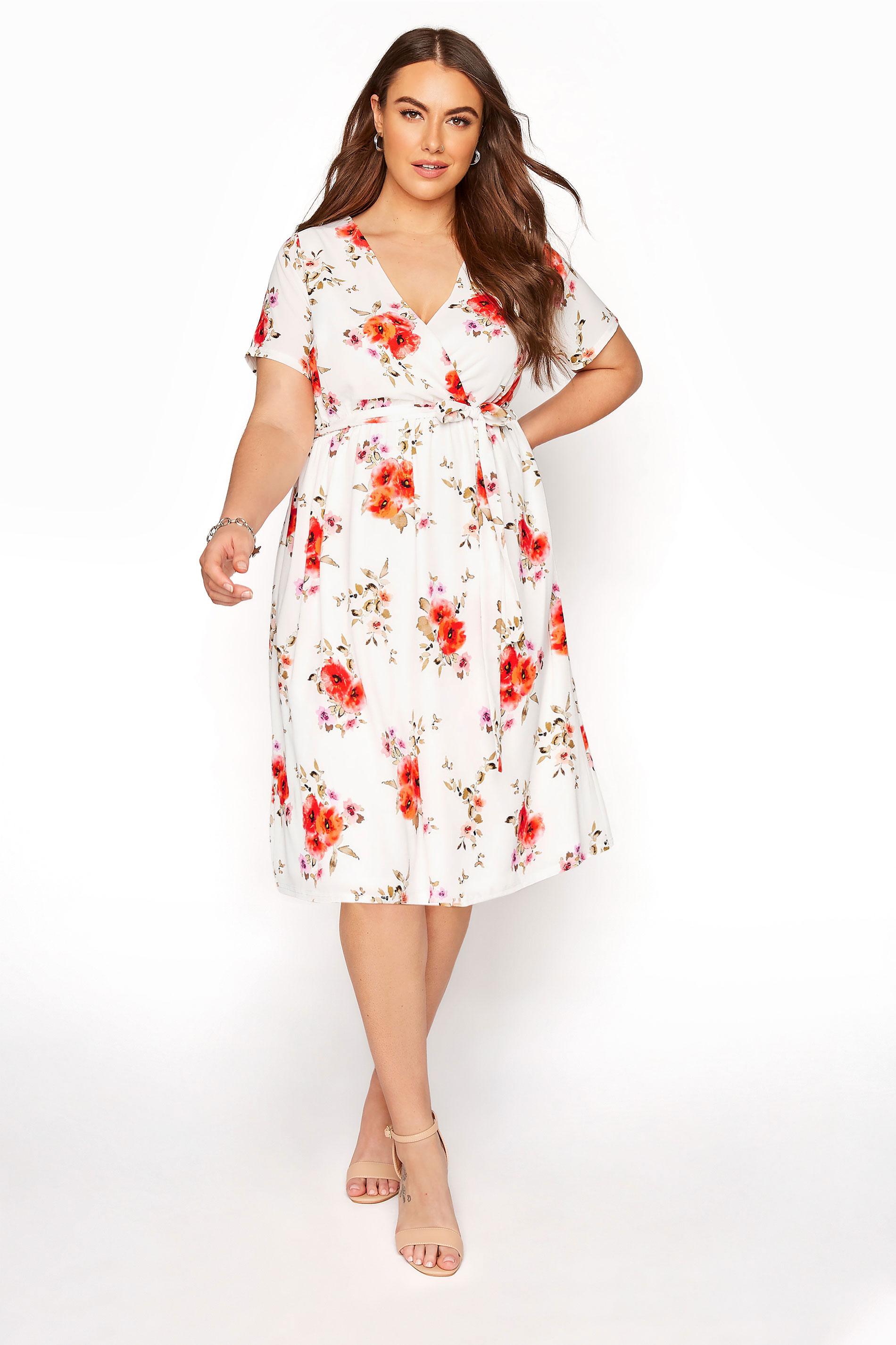 YOURS LONDON Orange Floral Short Sleeve Wrap Dress_A.jpg