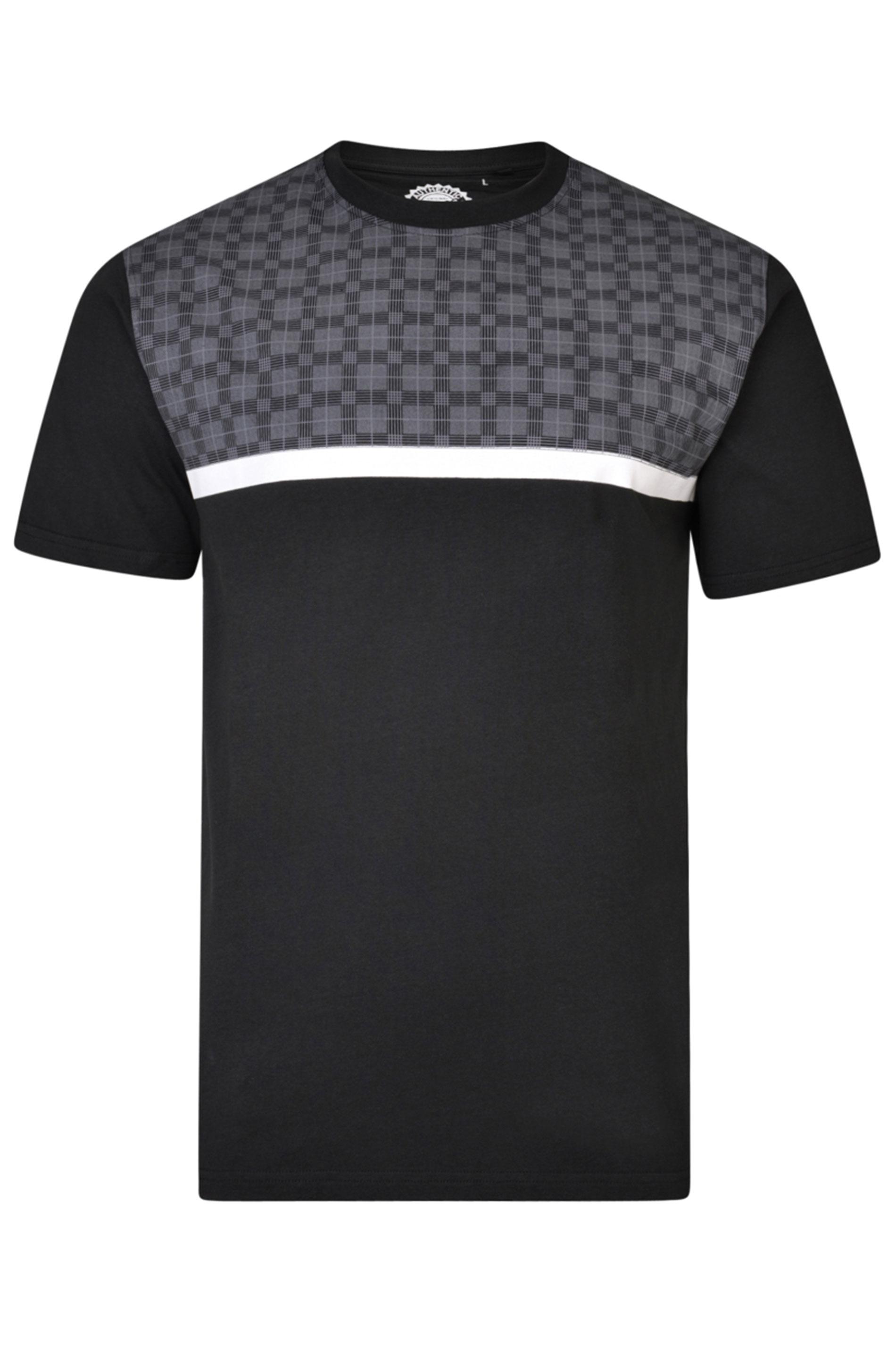 KAM Black Check Colour Block T-Shirt