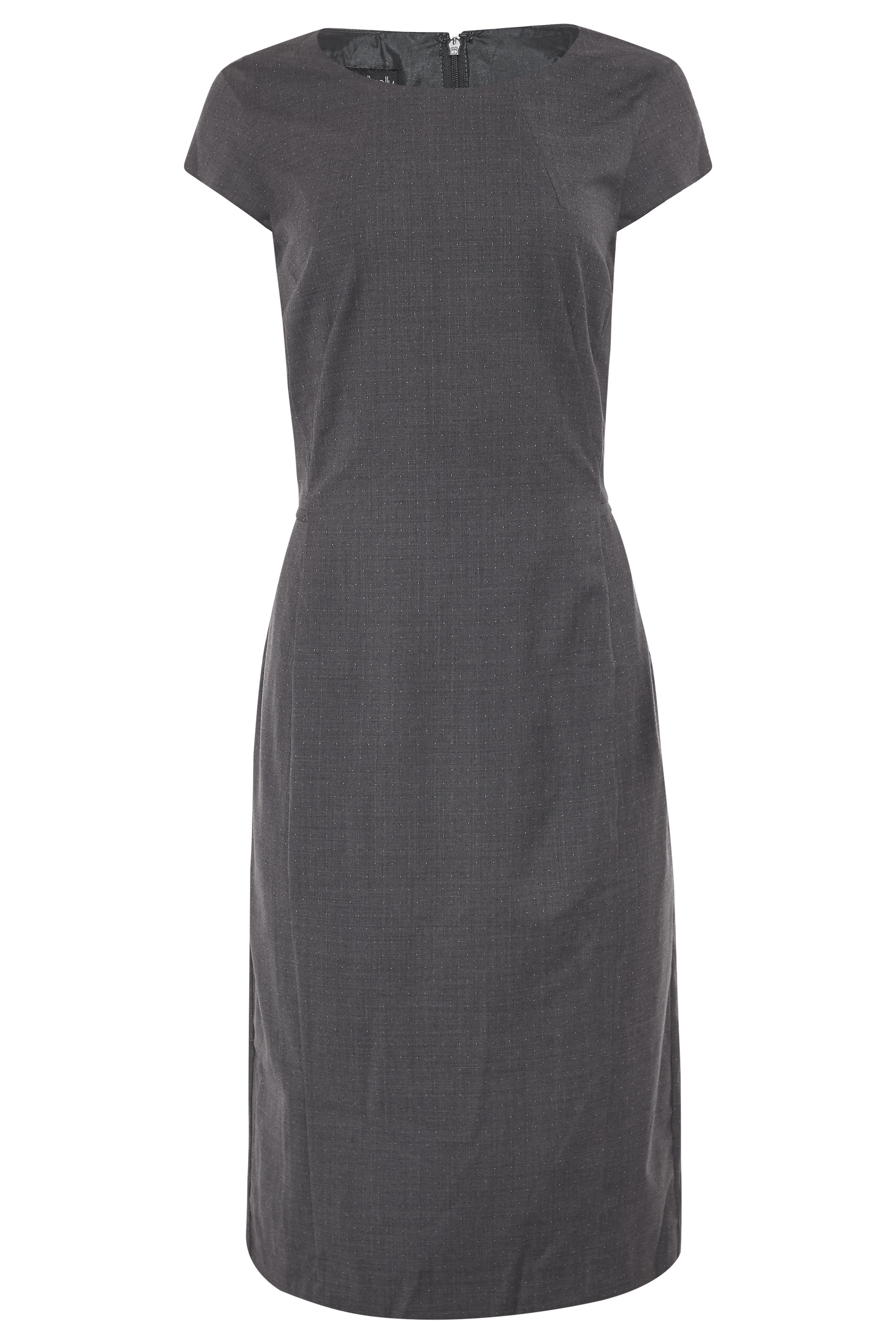 Grey Wool Mix Spot Dress
