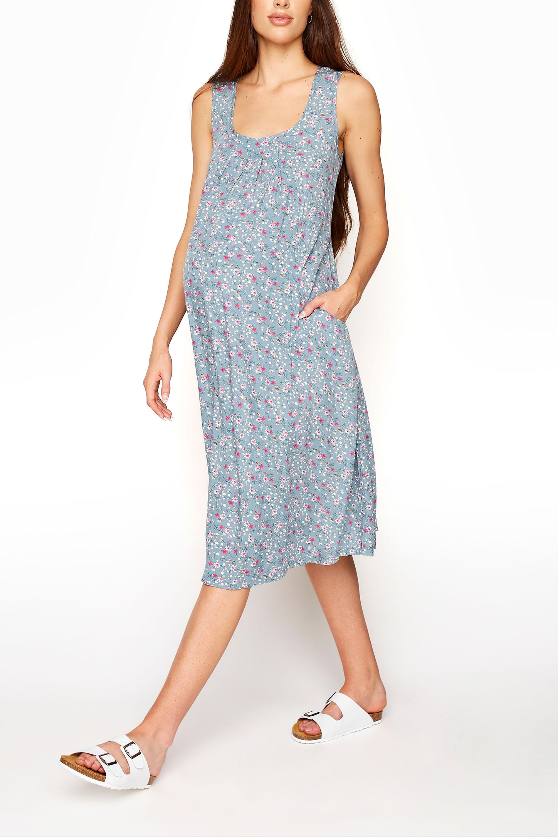 LTS Maternity Blue Floral Sleeveless Dress
