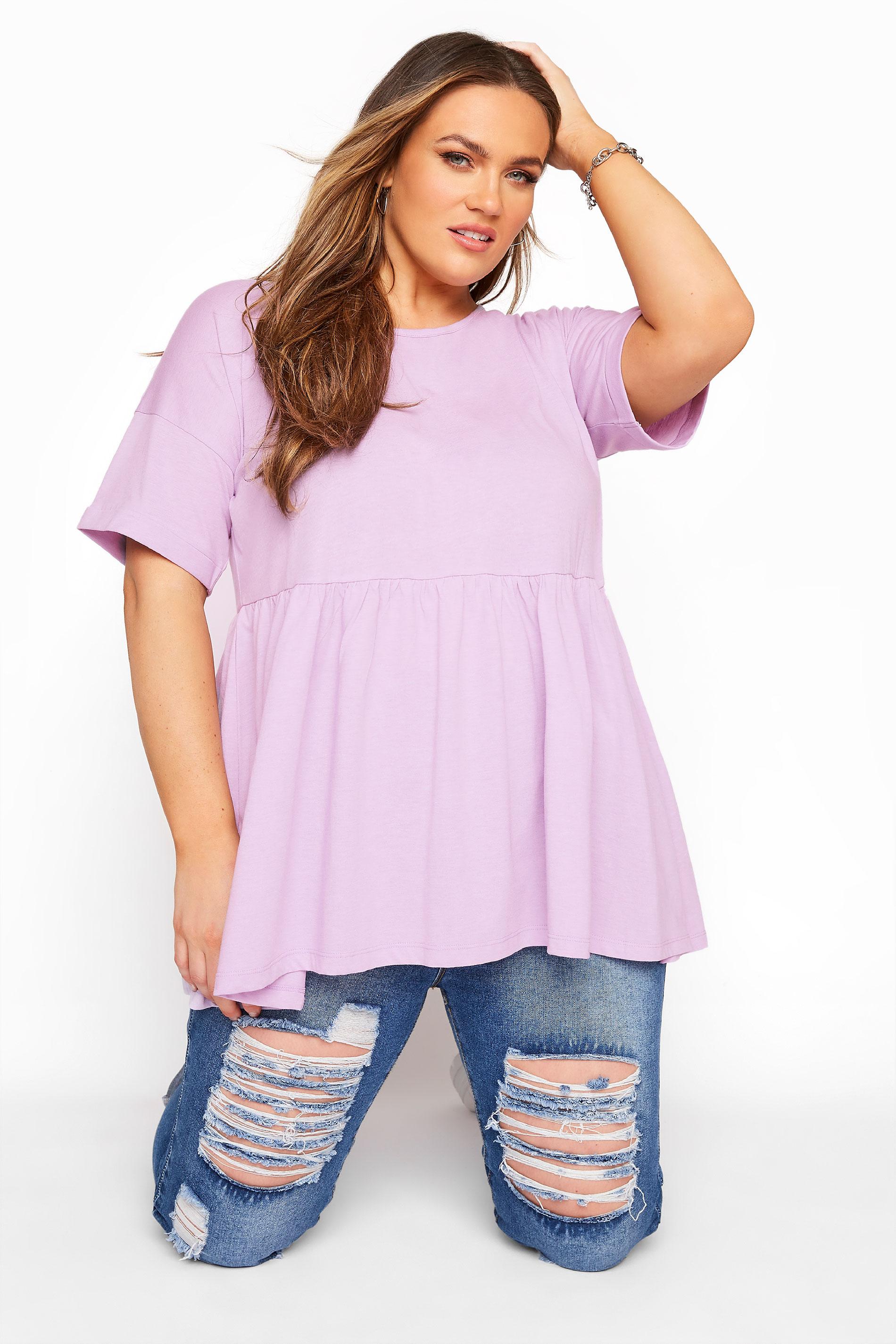 Lilac Drop Shoulder Peplum Tunic