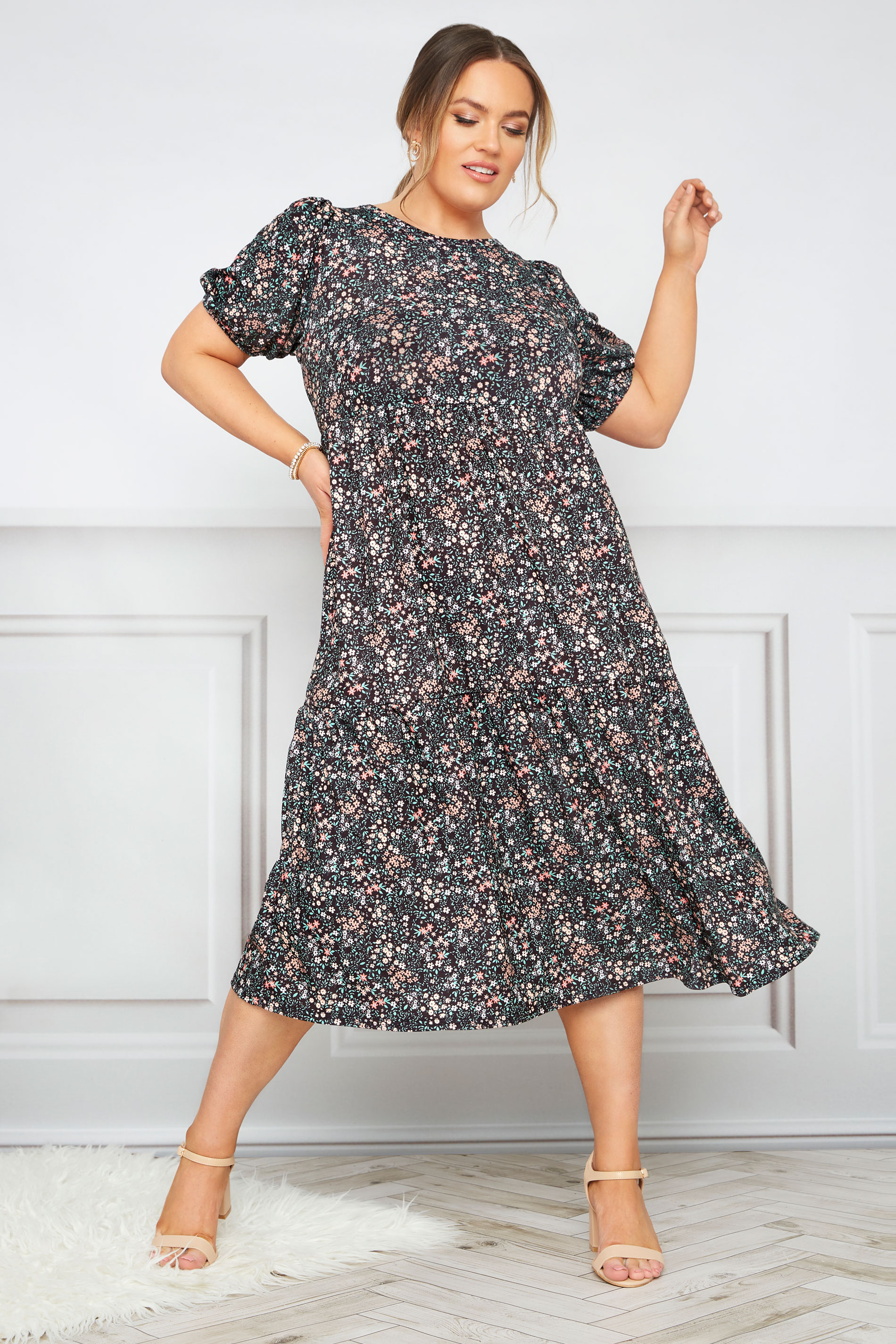 Black Puff Sleeve Ditsy Floral Midaxi Dress
