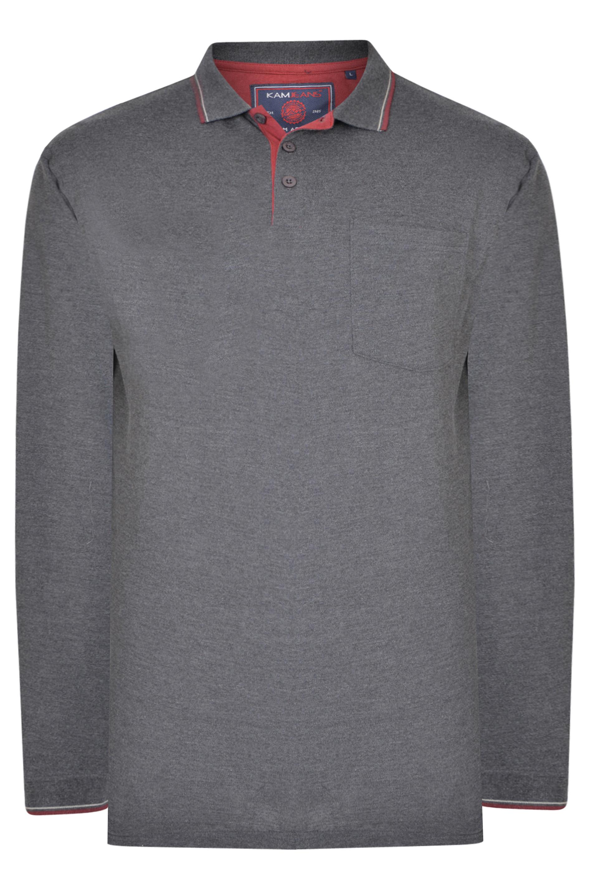 KAM Charcoal Grey Tipped Long Sleeve Polo