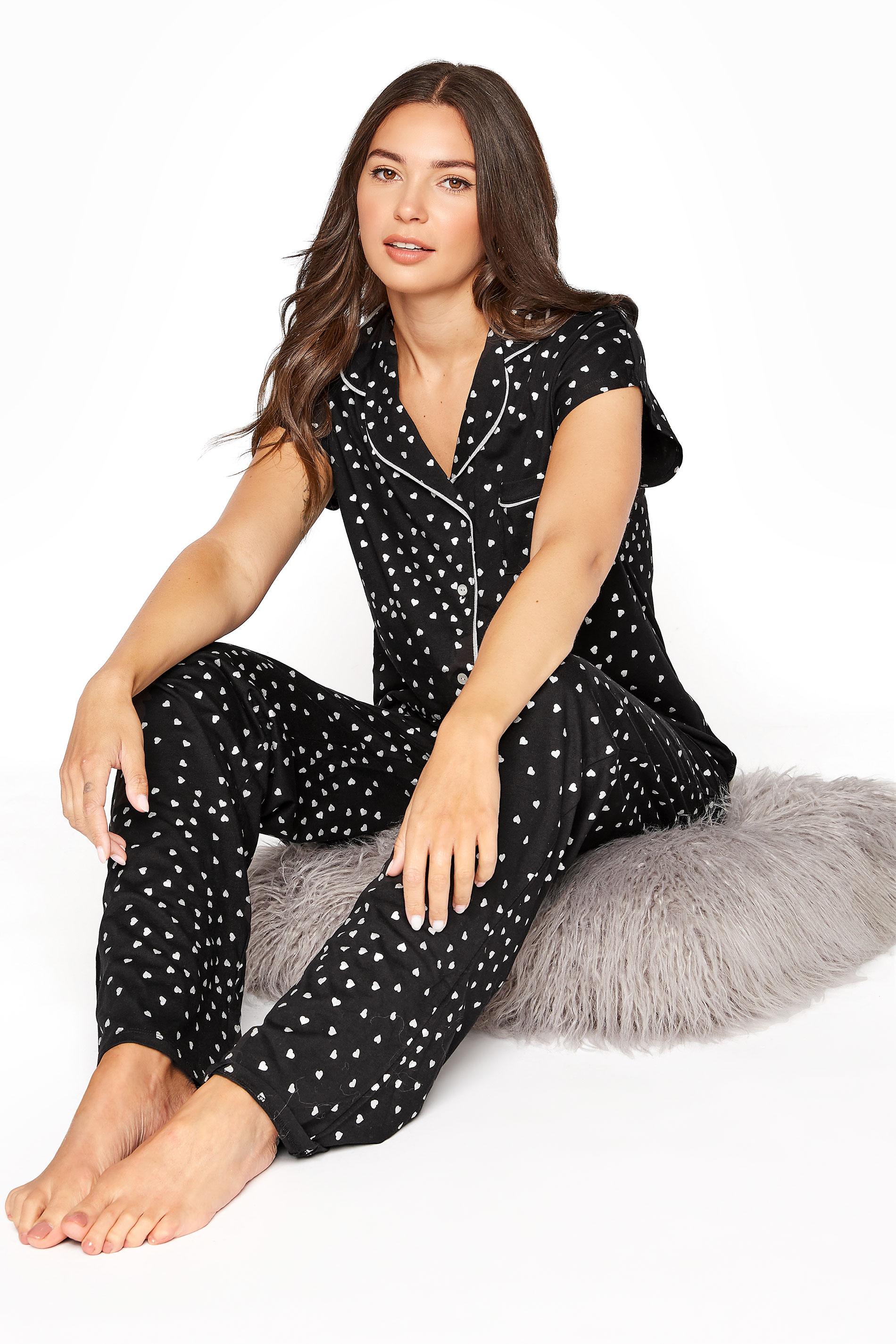 LTS Black Heart Print Pyjama Set