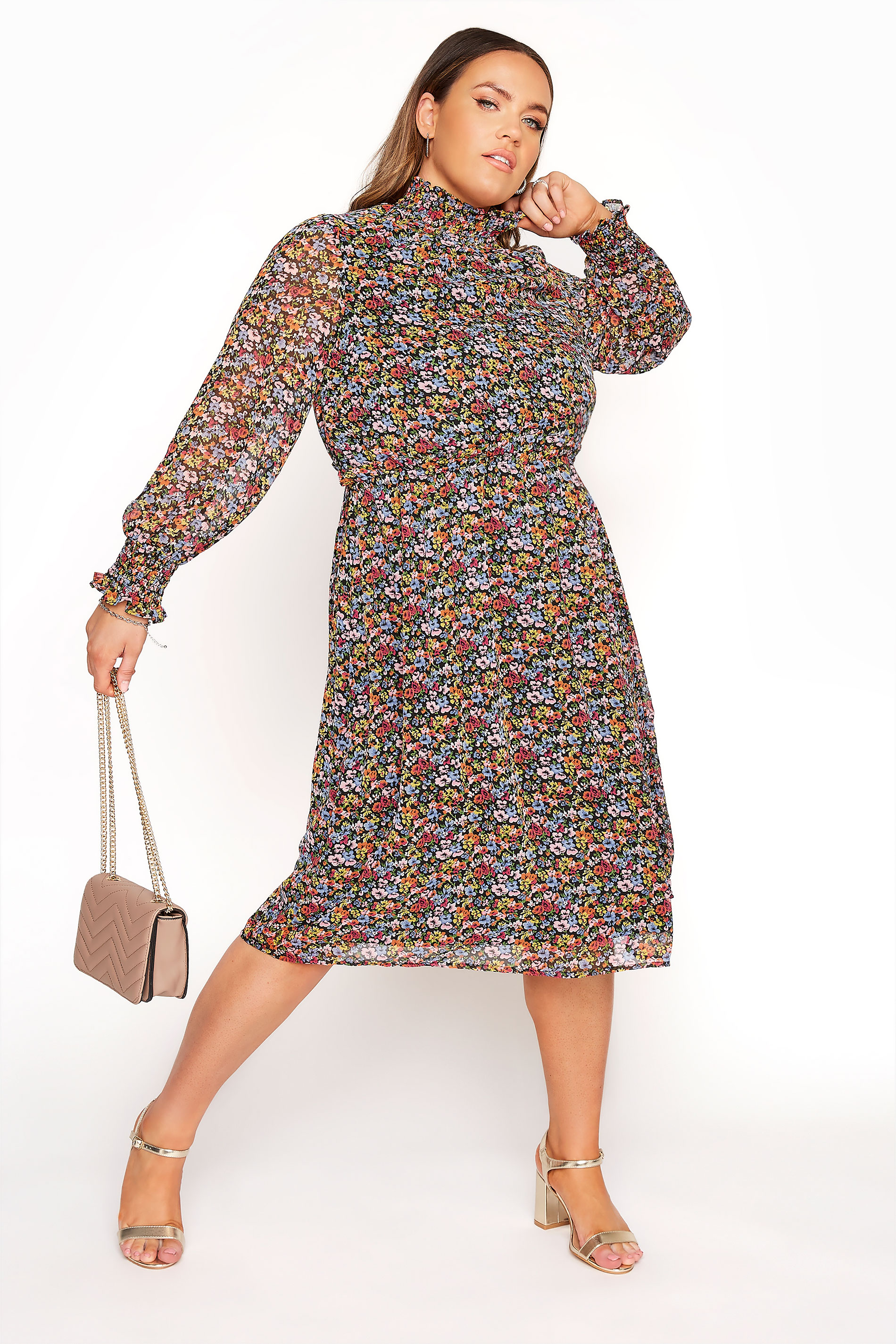 YOURS LONDON - Midi-jurk van chiffon met bloemetjesprint in multikleur