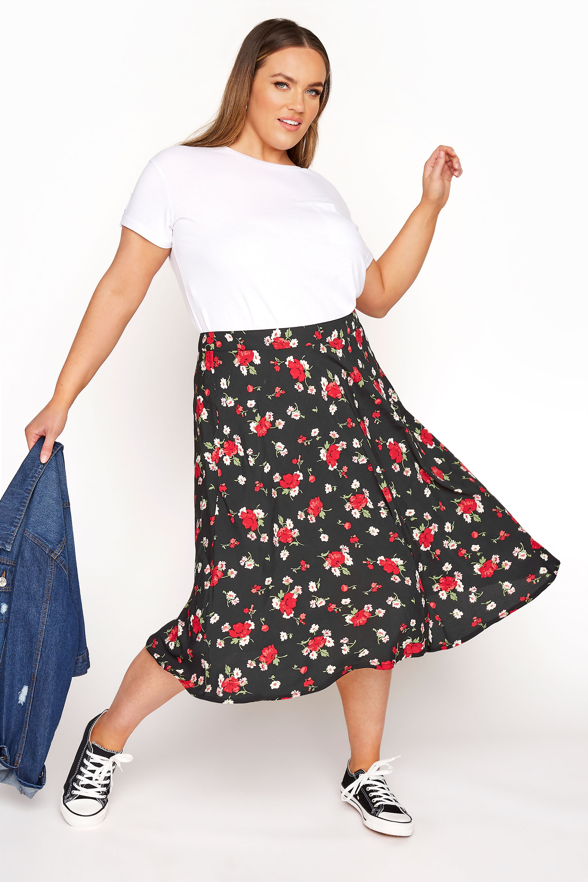 Black Floral Print Midi Skirt